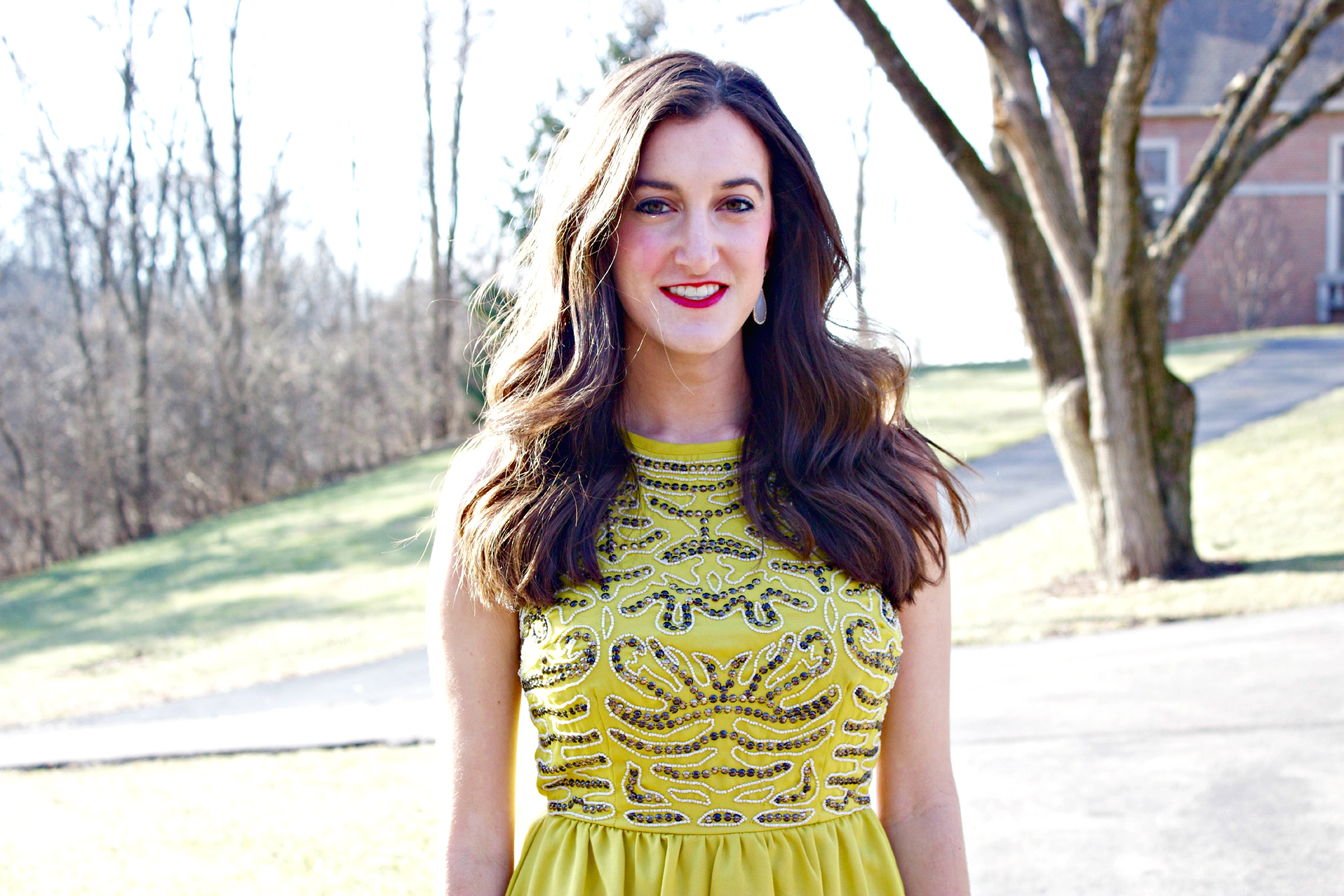 Gold and Yellow Sequin Dress