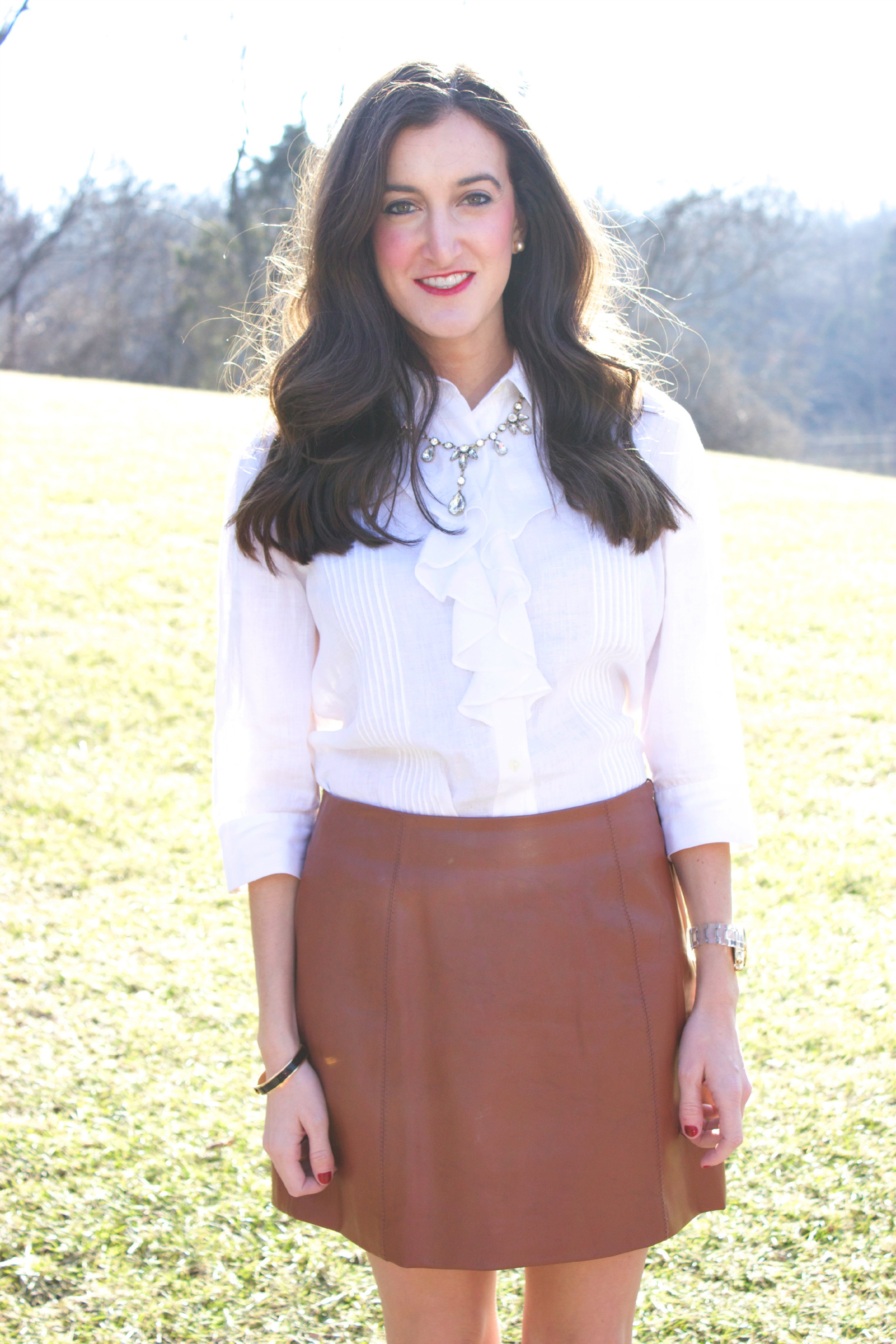Brown Leather Skirt White Blouse