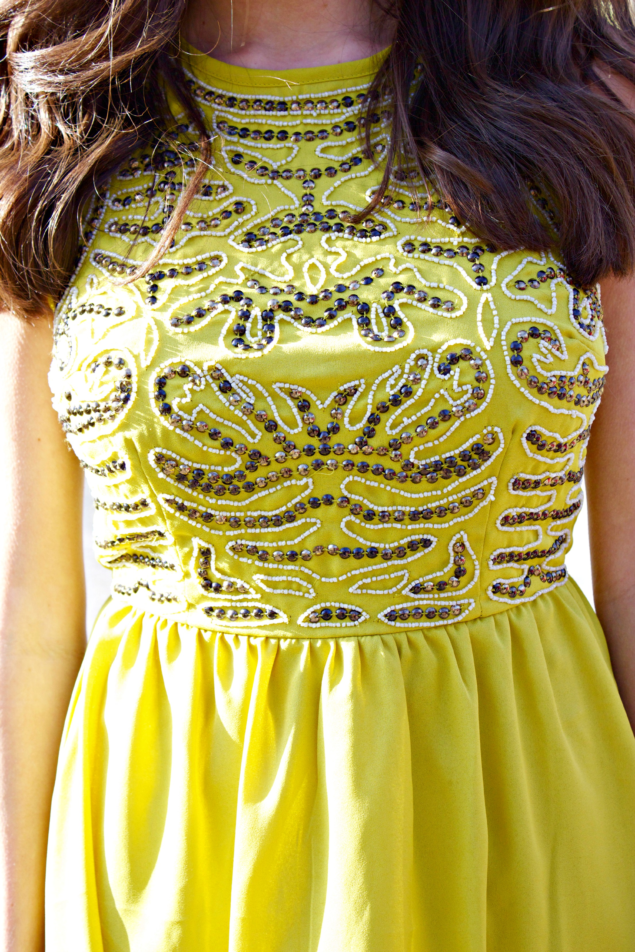 Yellow A-Line Sequin Dress
