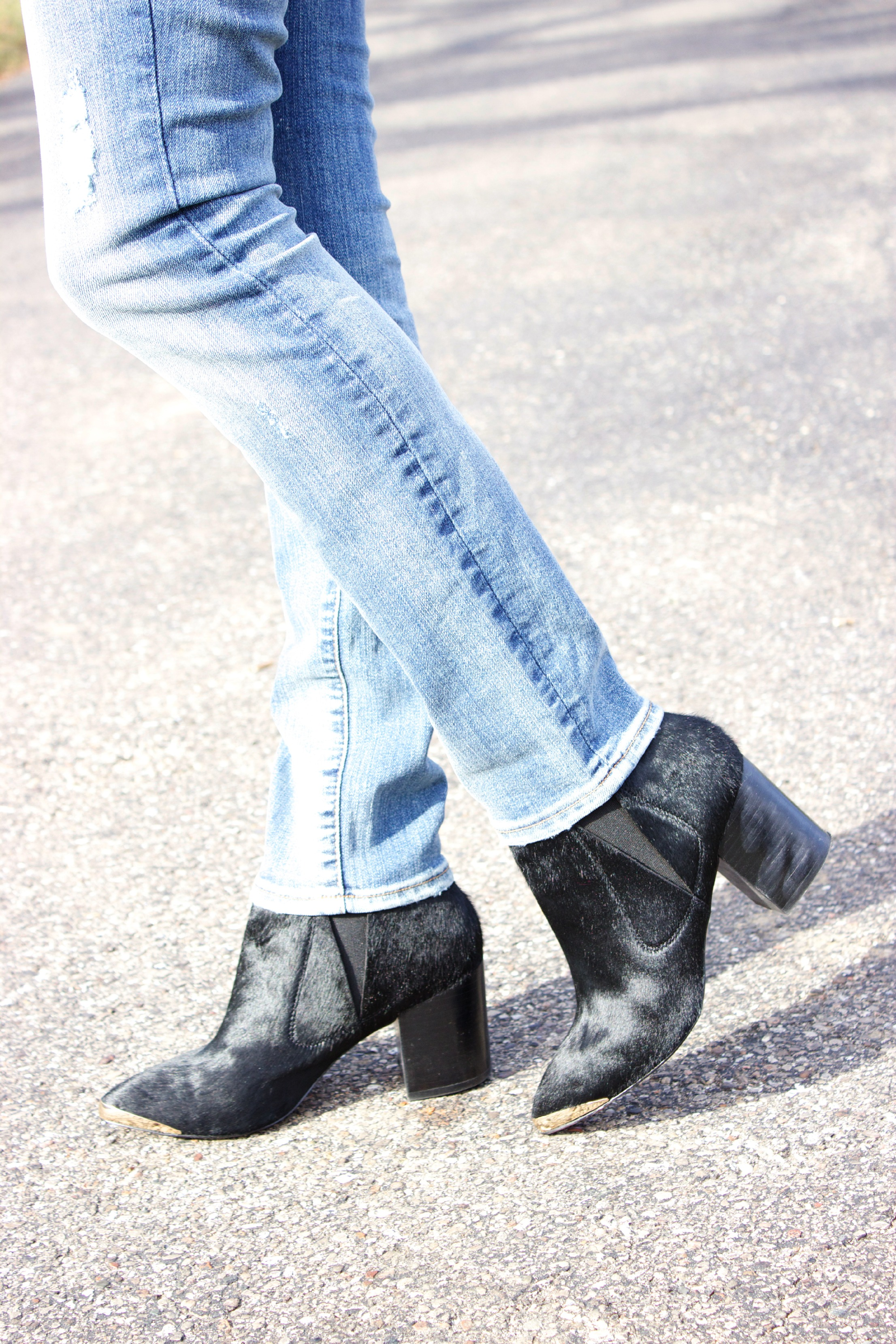 Report Booties Gap Distressed Jeans