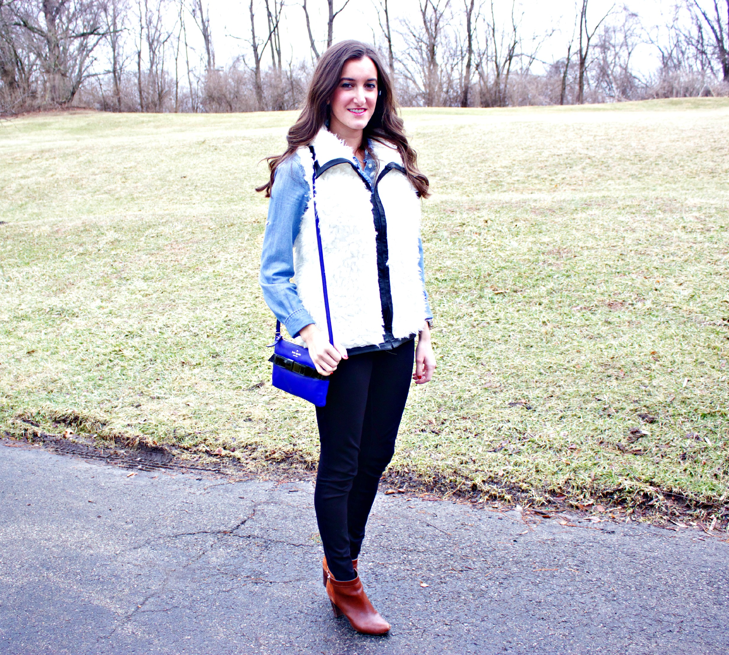 Chambray Shirt with Faux Fur Vest