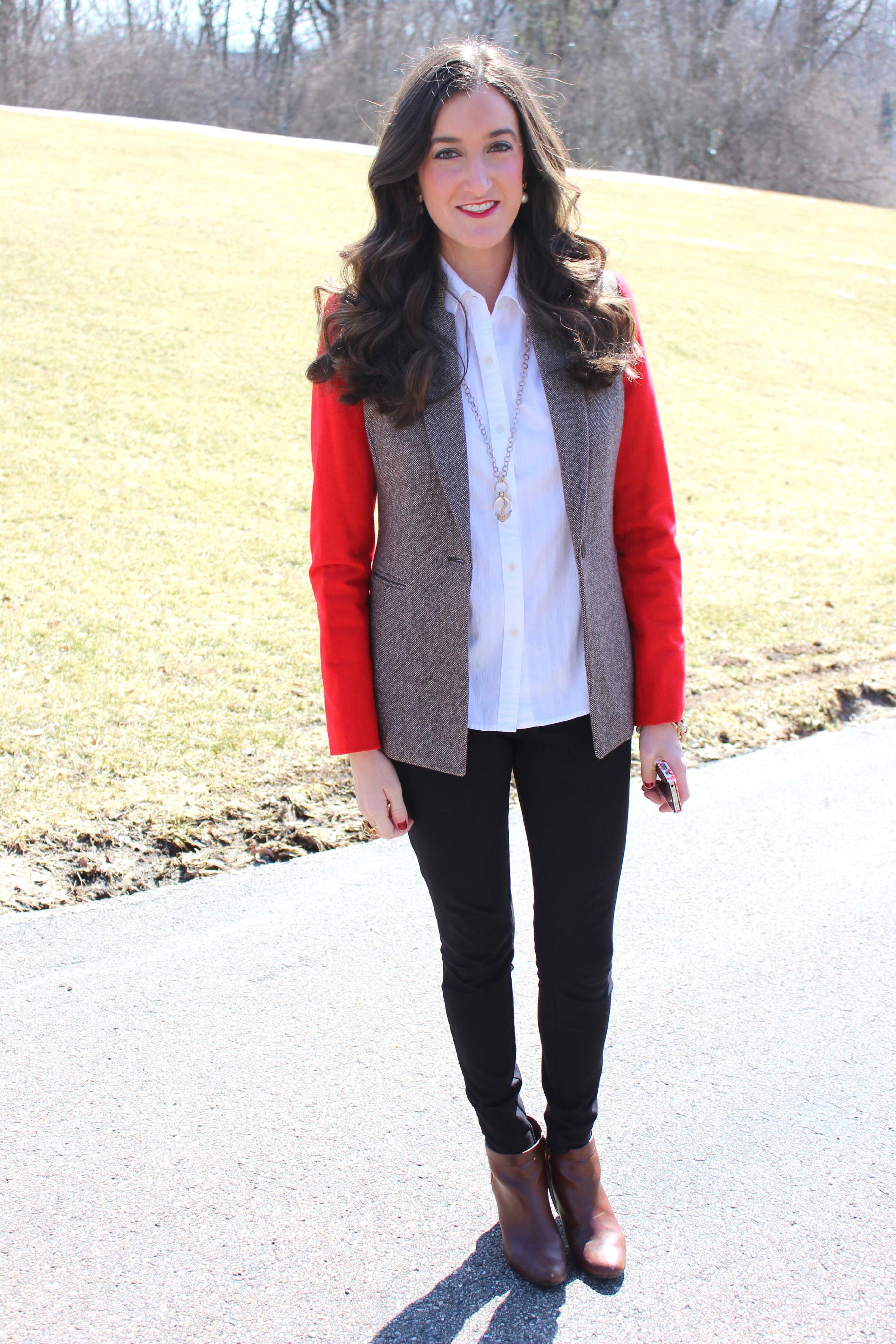 Cremieux Red and Tweed Blazer