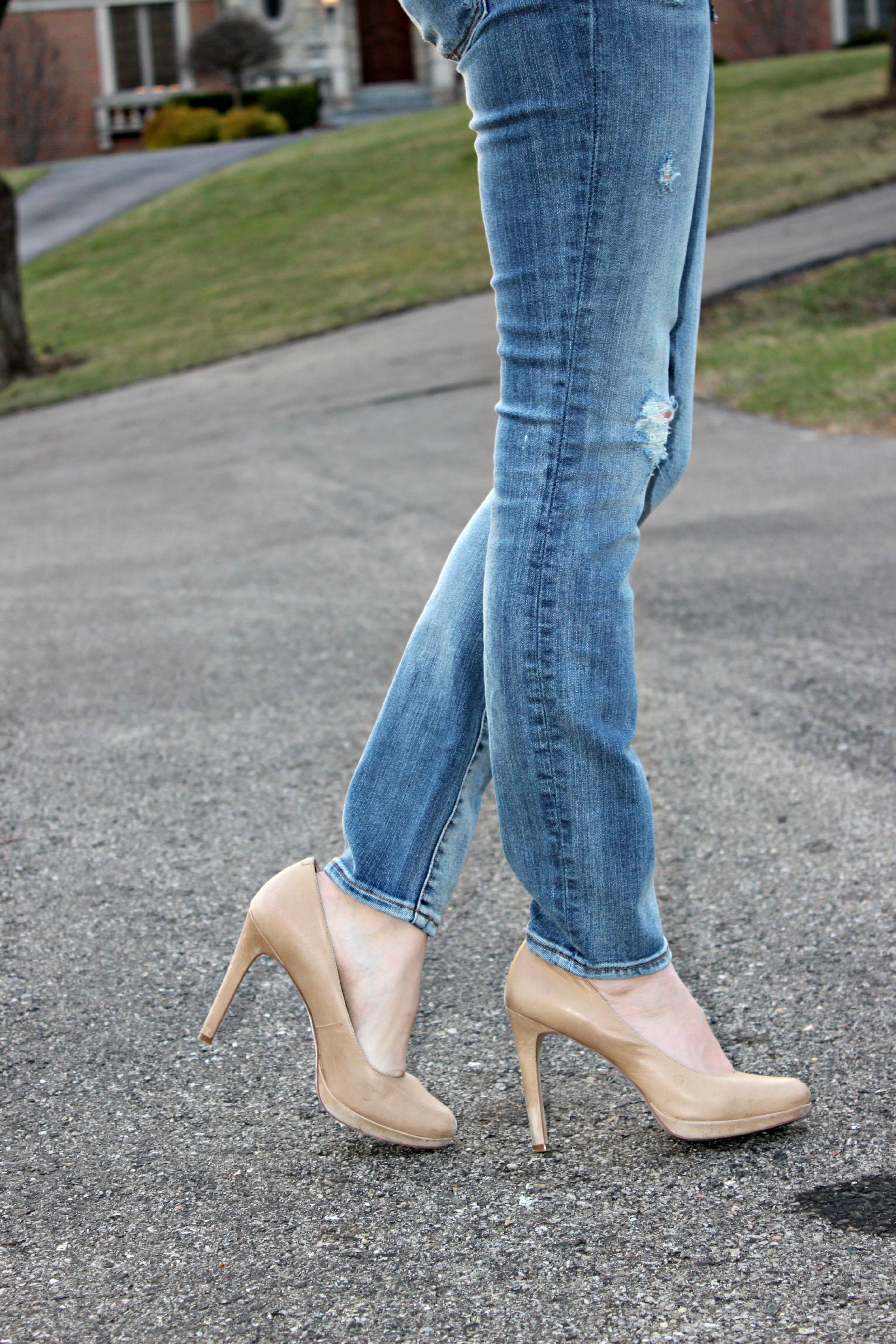 Distressed Gap Jeans BCBGeneration Heels