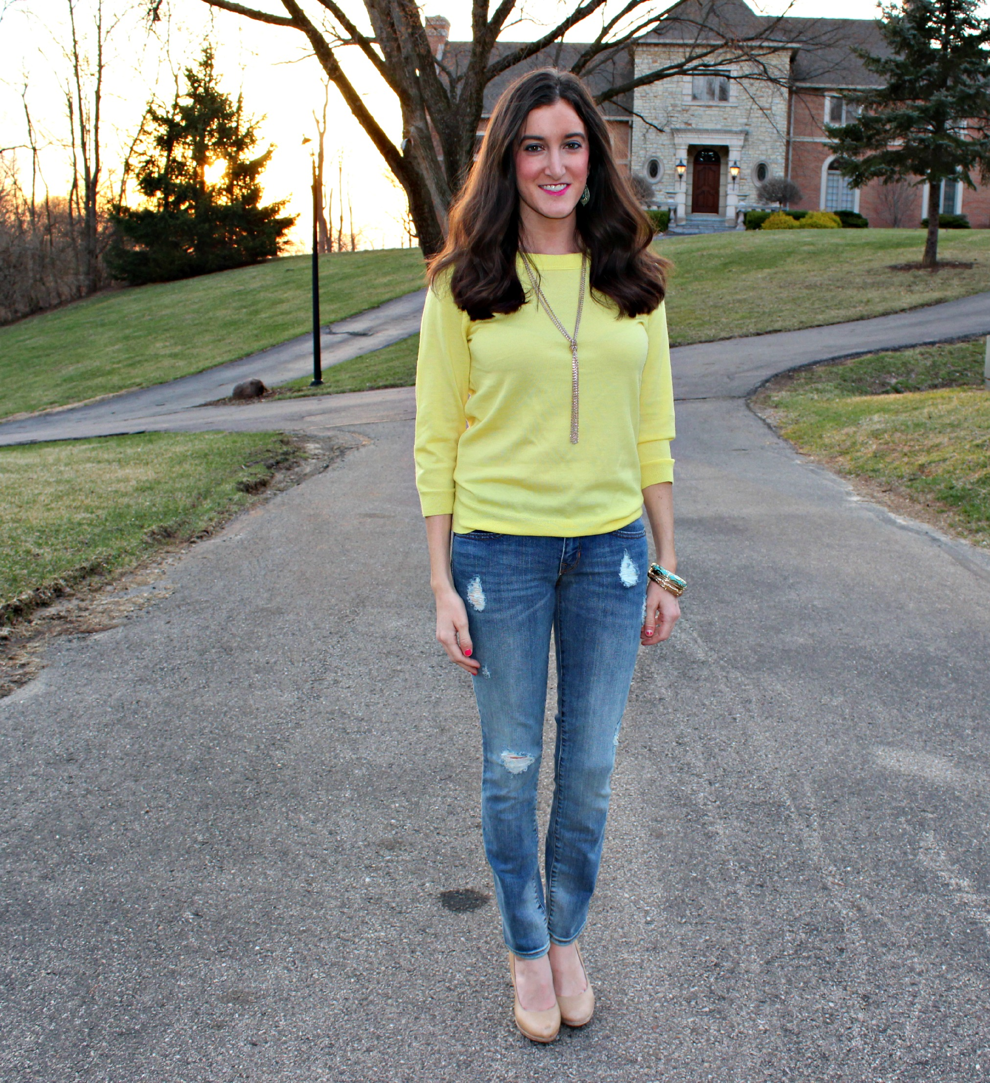 Ripped Gap Jeans with Yellow J.Crew Sweater