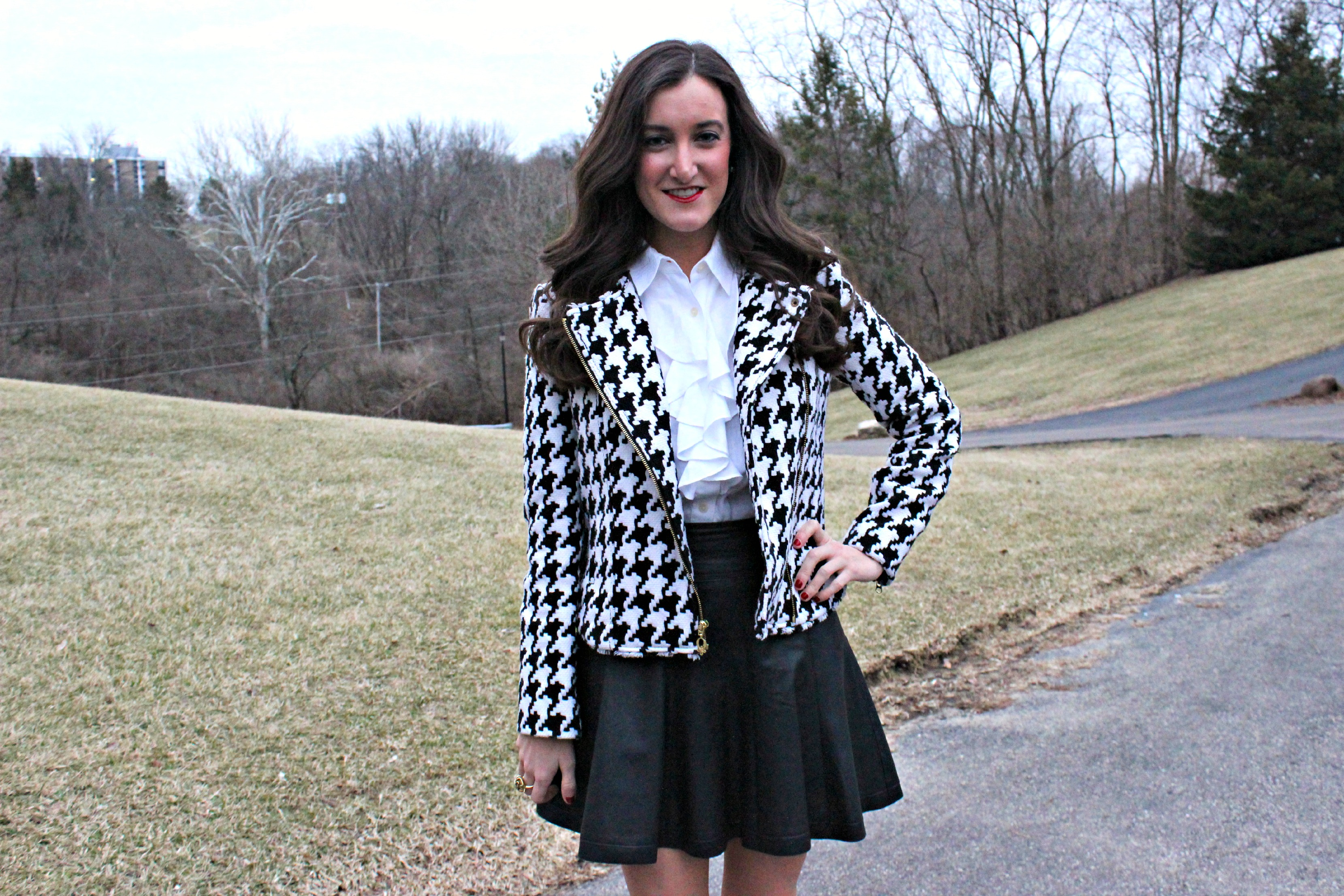 Houndstooth Moto Jacket with Leather Skirt