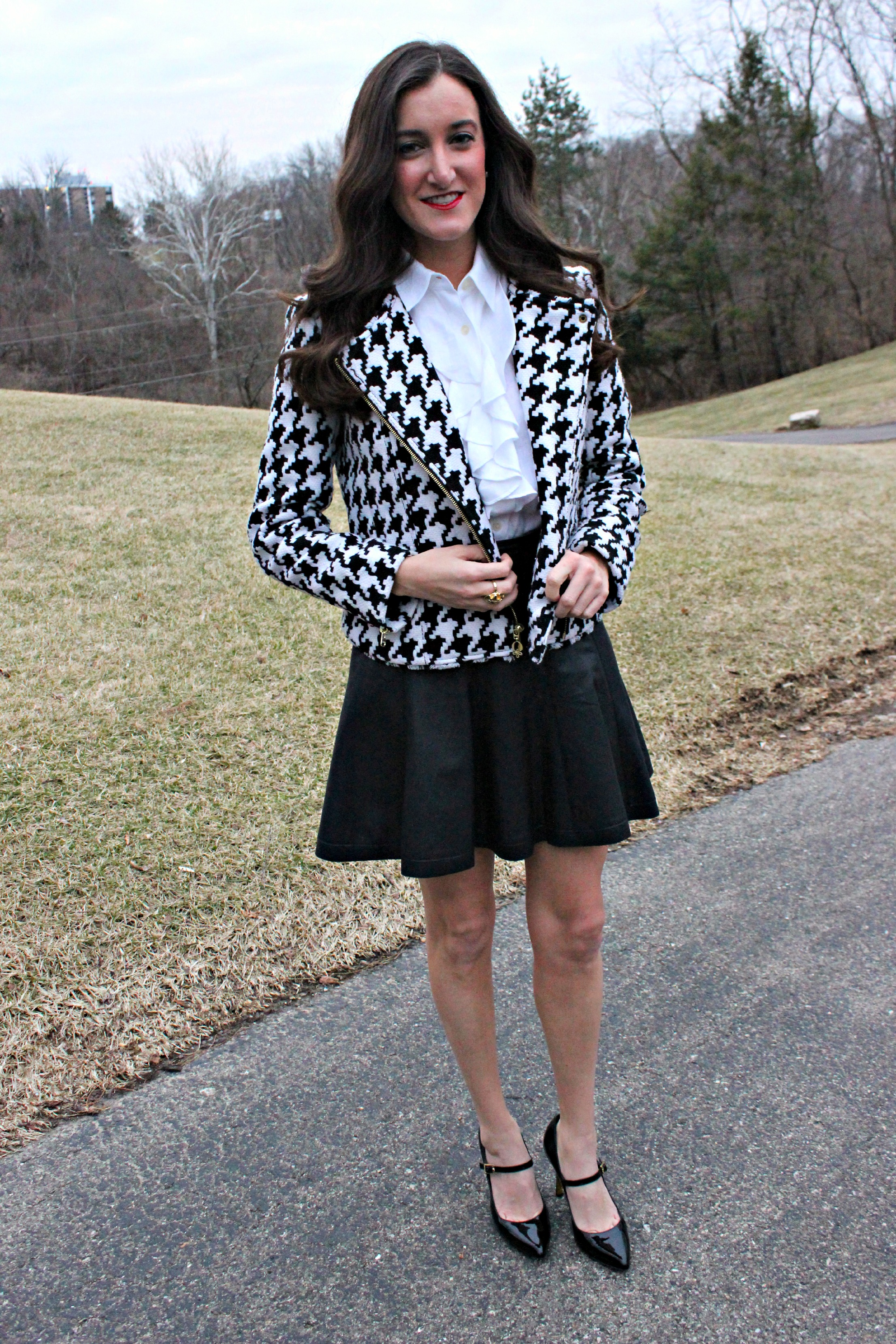 Leather Skirt with Houndstooth Jacket