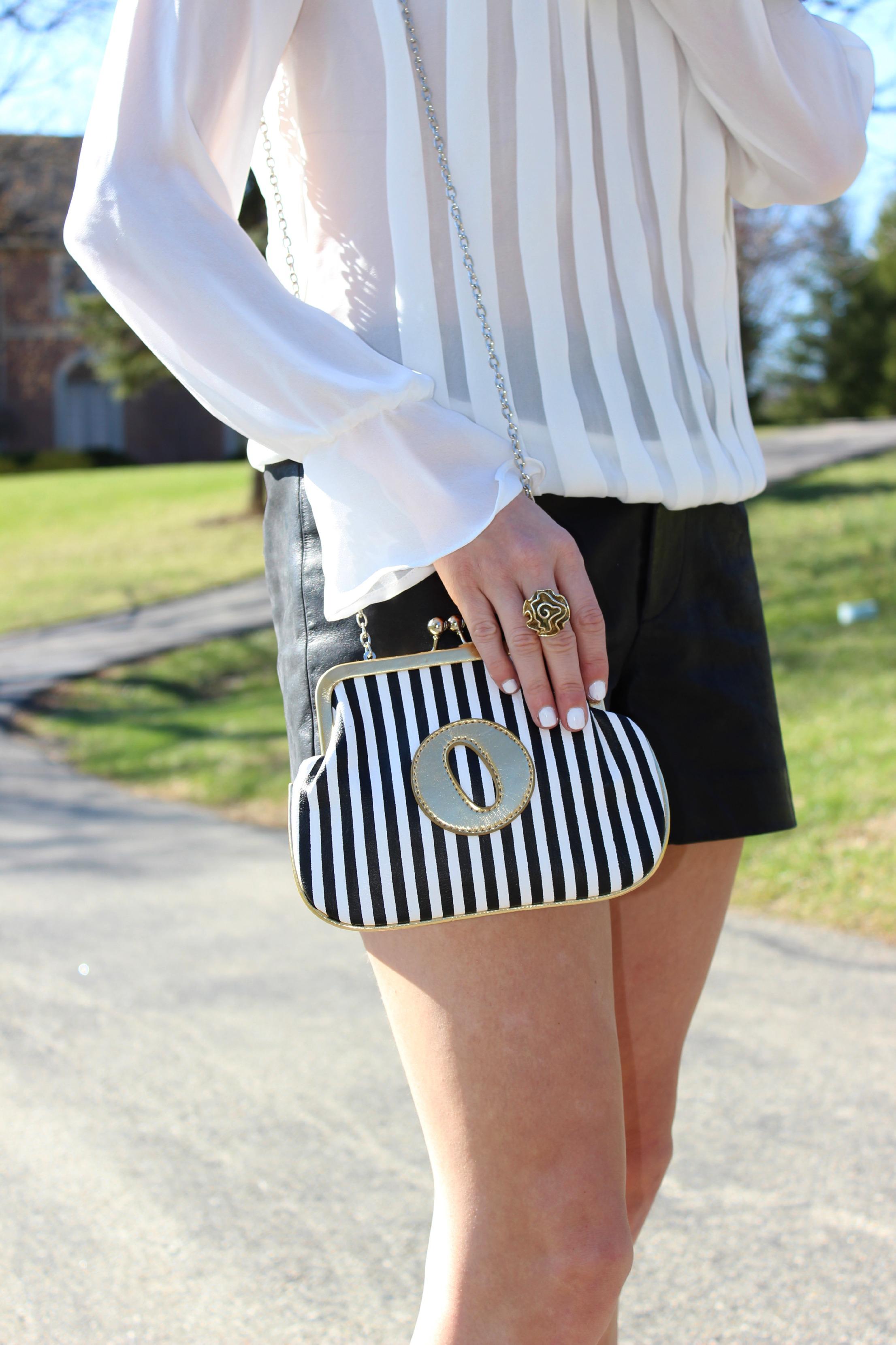Melie Bianco Striped Clutch Purse