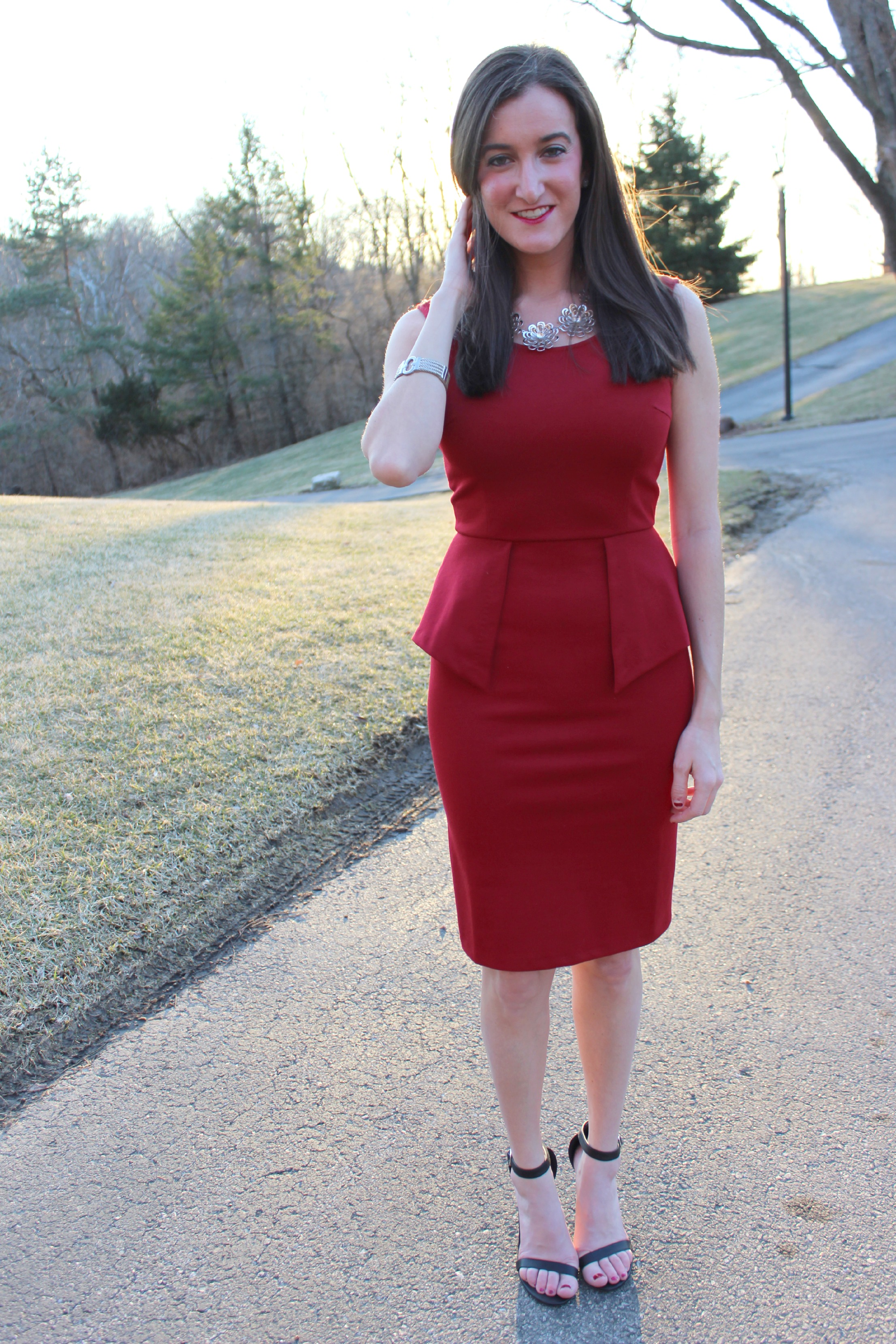Red Peplum Dress THML Clothing