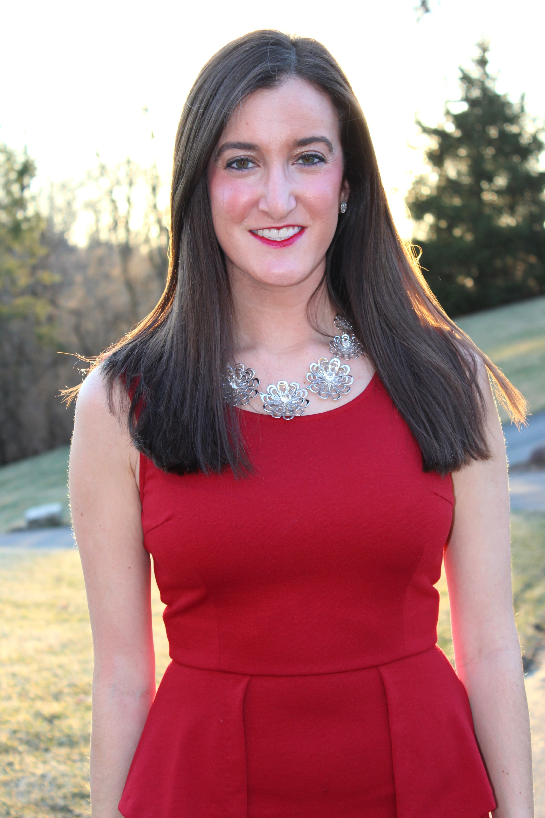 Red Peplum Dress Kate Spade Necklace
