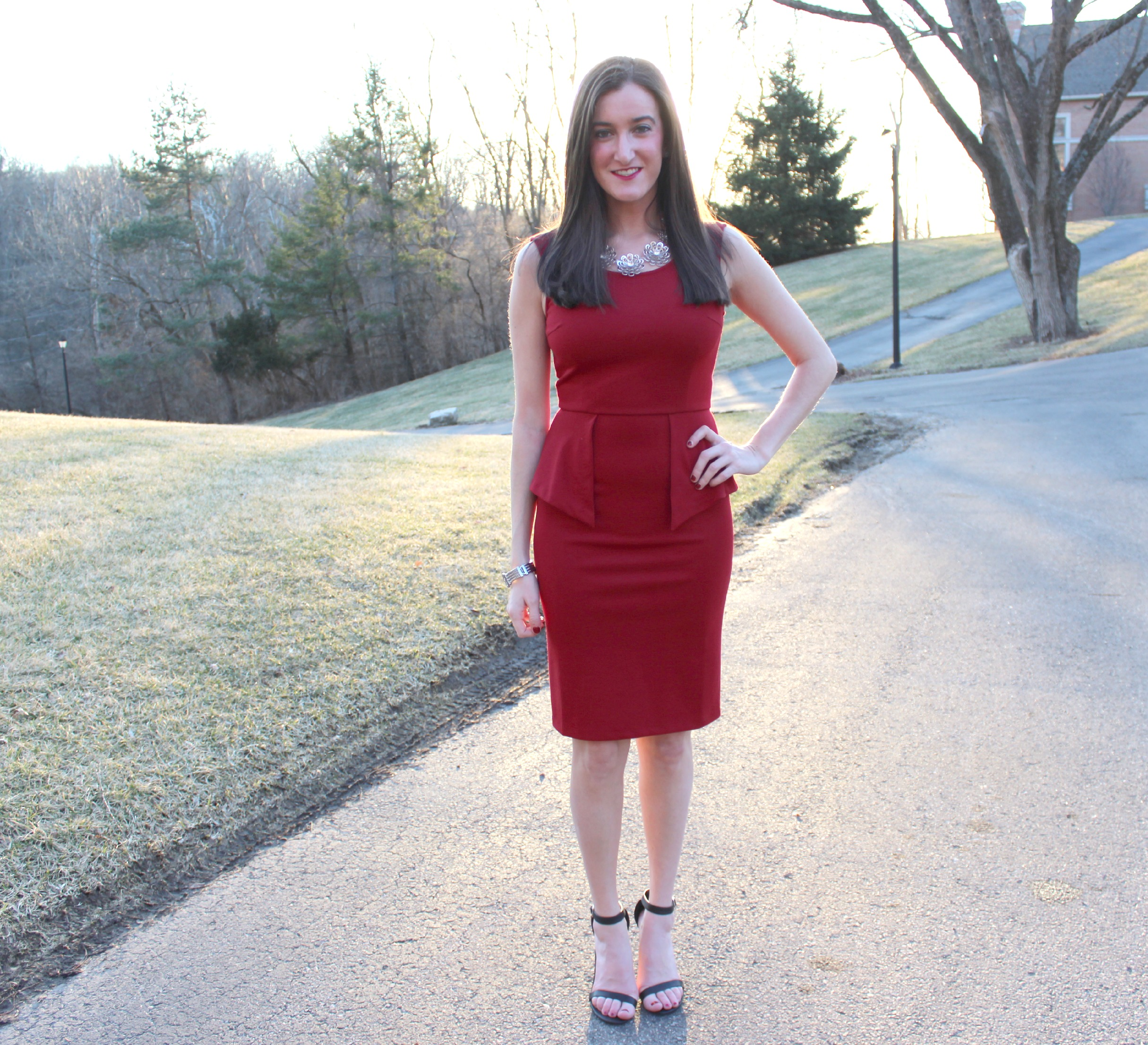 THML Clothing Red Peplum Dress