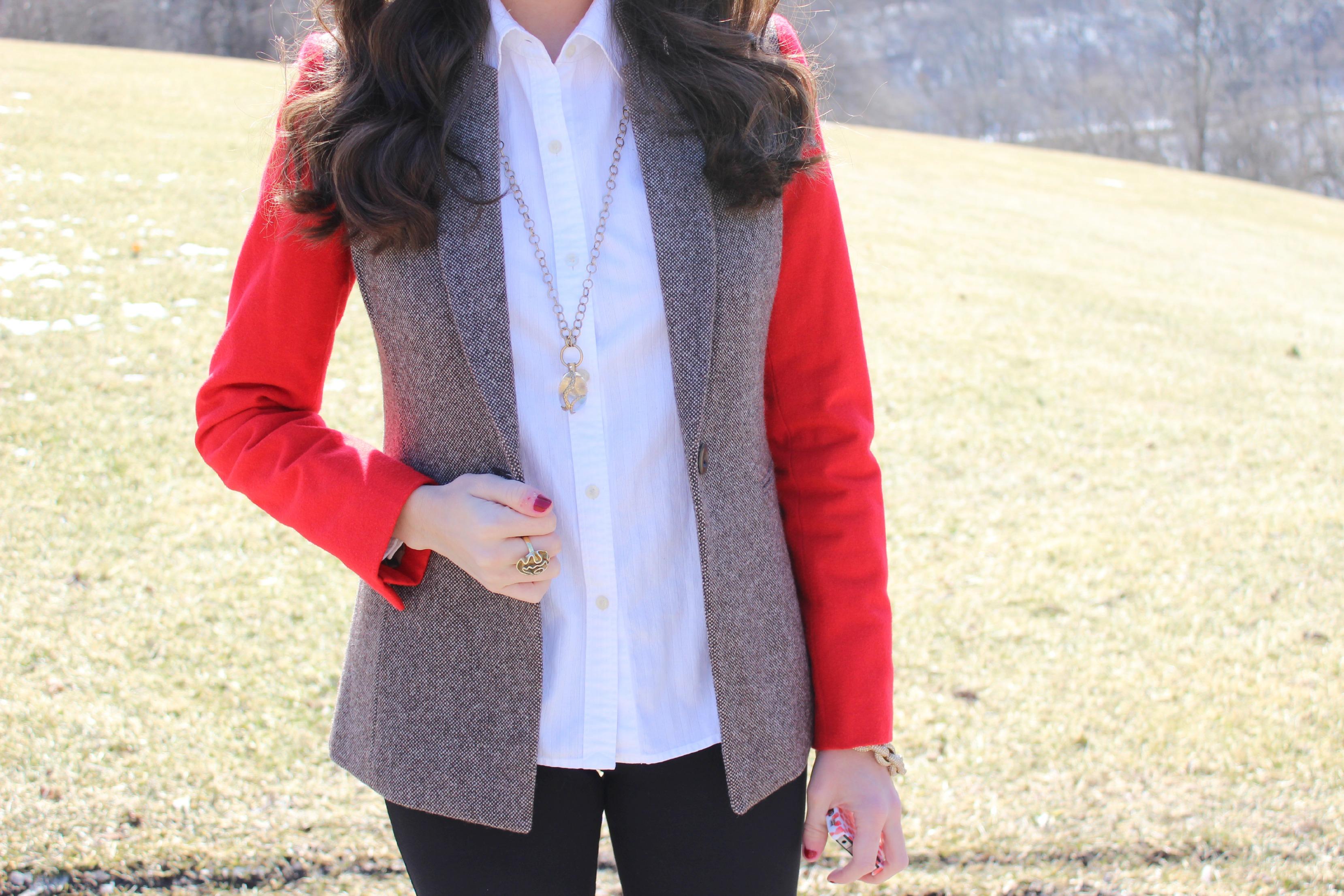 Colorblocked Tweed Blazer with Red Sleeves
