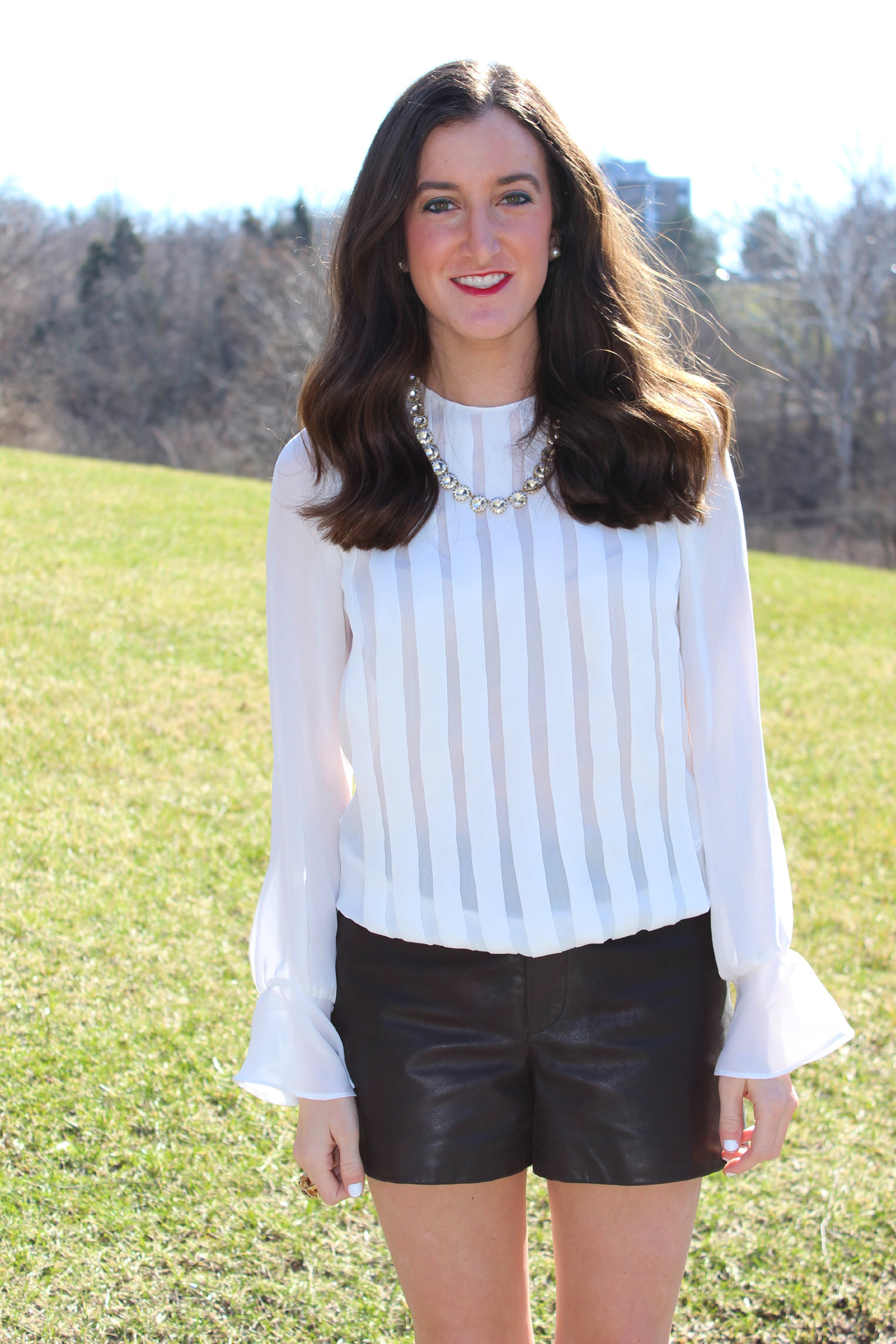 White Zara Pleated Blouse with Bell Sleeves