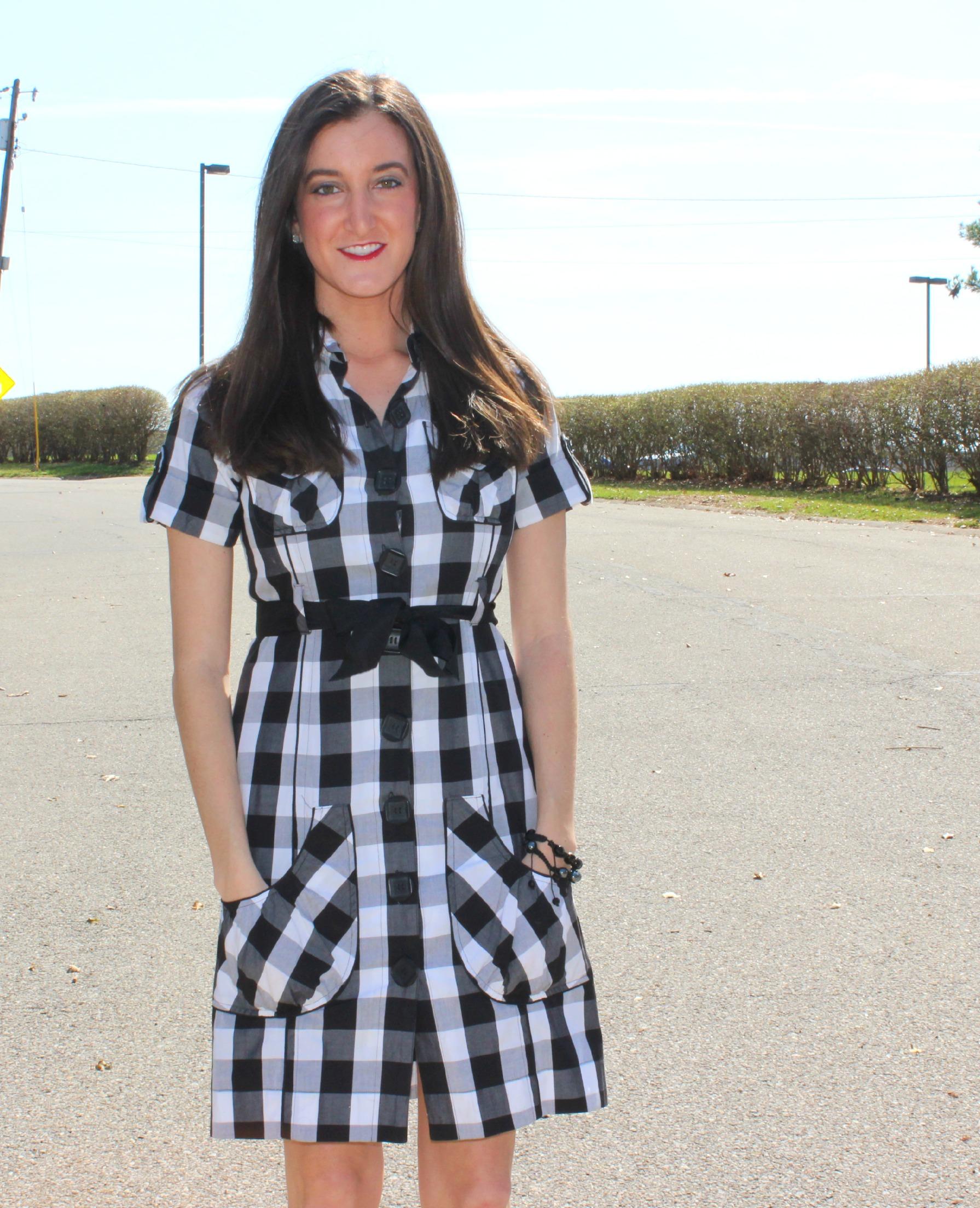 Black and White Checkered Print Dress