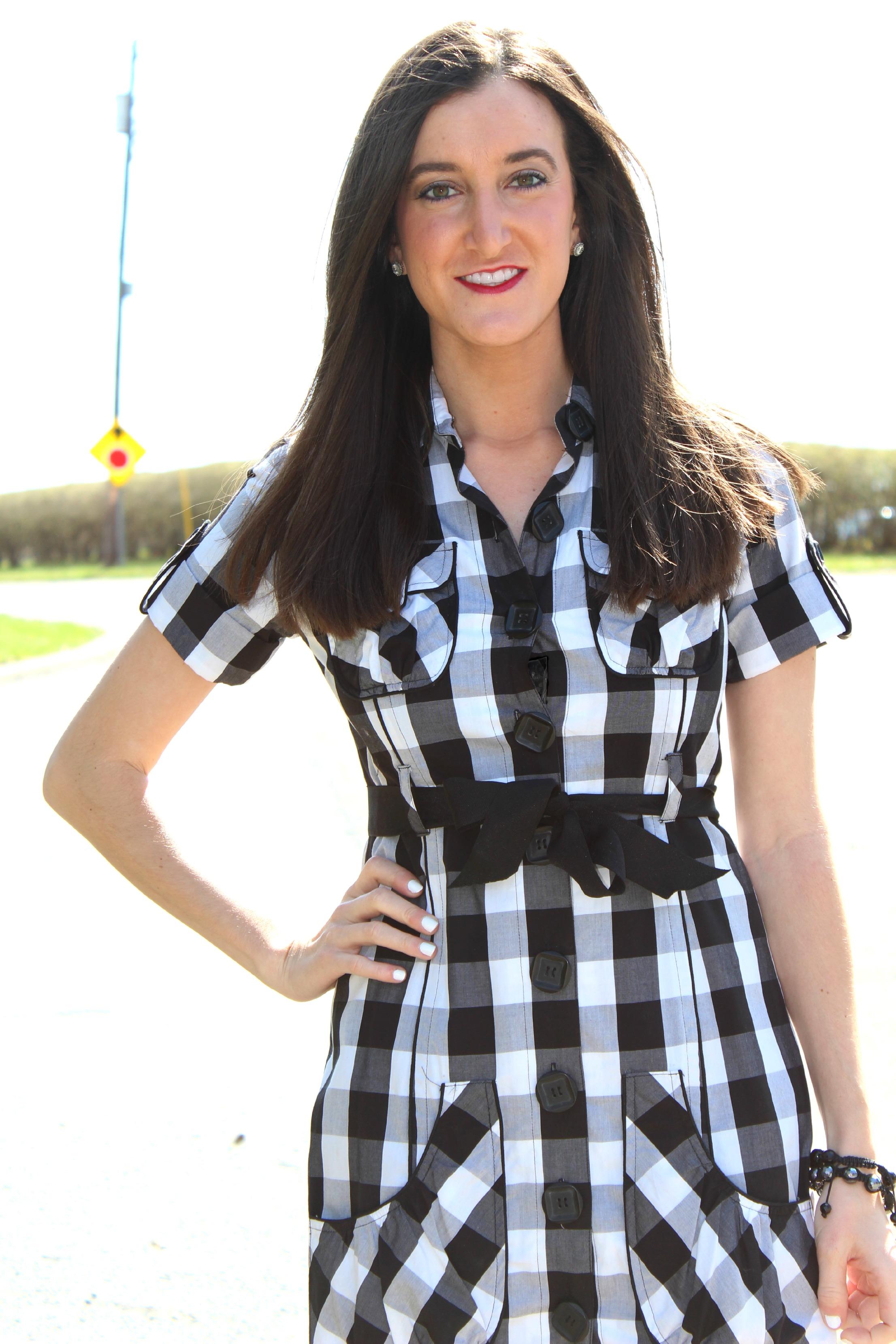 Black and White Checkered Spring Dress