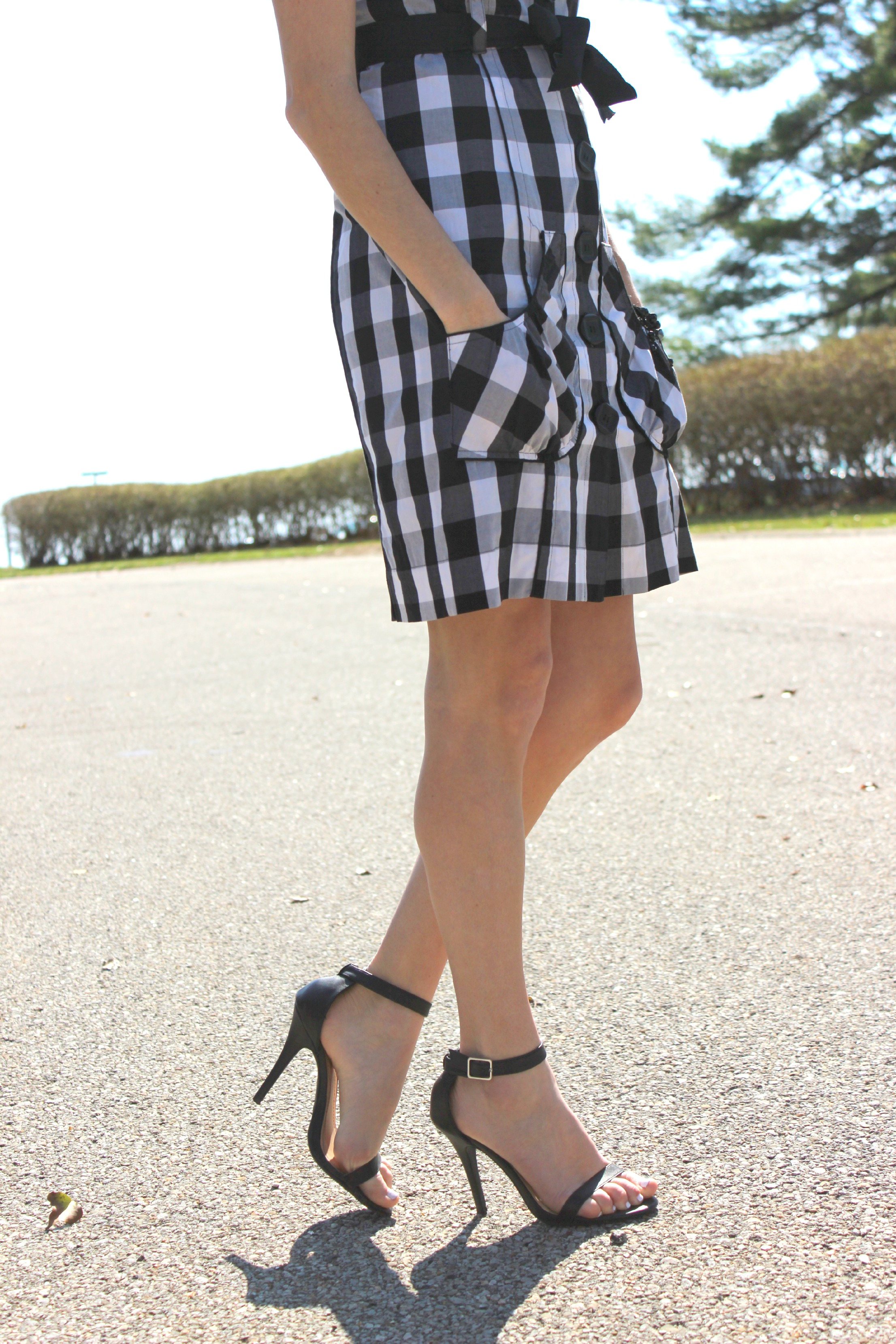 Black Ankle Strap Heels with Gingham Dress