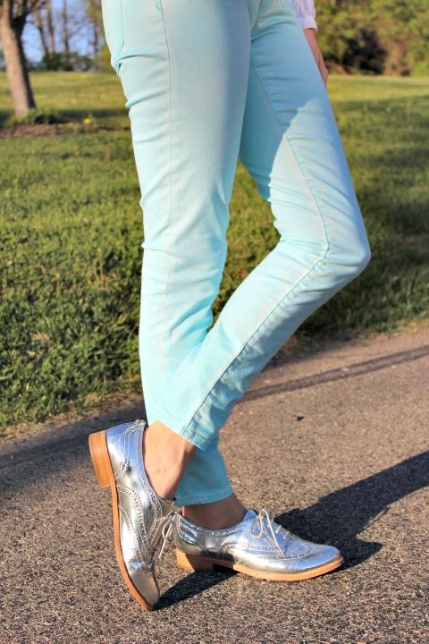 Gap 1969 Legging Jeans Sam Edelman Metallic Oxfords