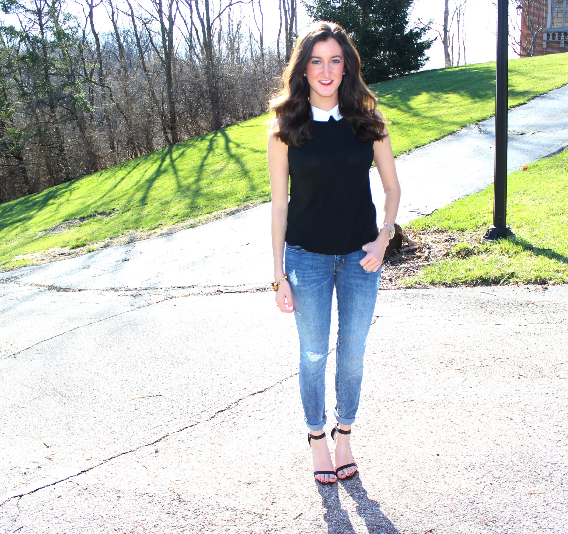 Gap Distressed Jeans with Sleeveless Collared Top