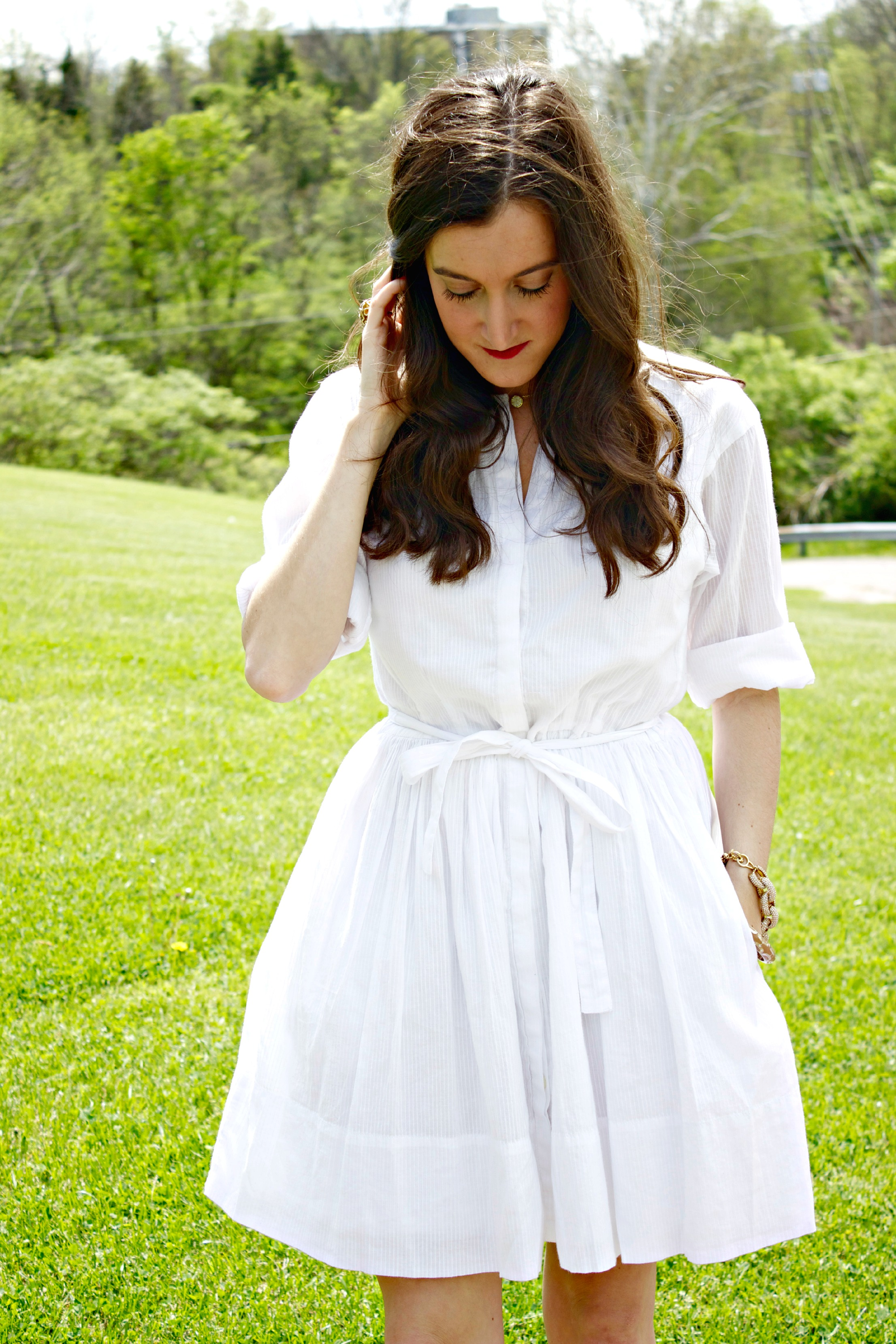 White Gap Shirtdress