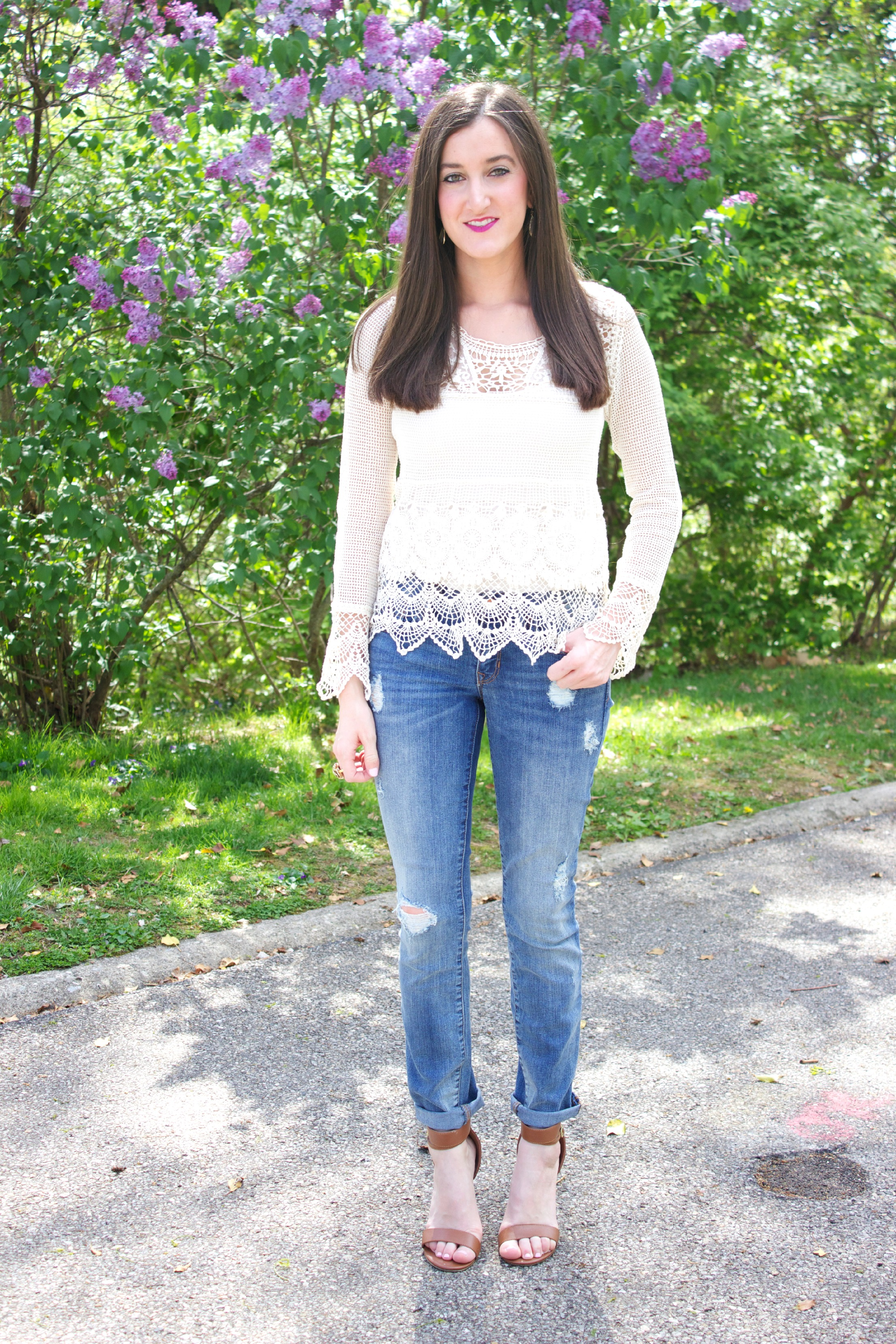 How To Wear a Crocheted Knit Top