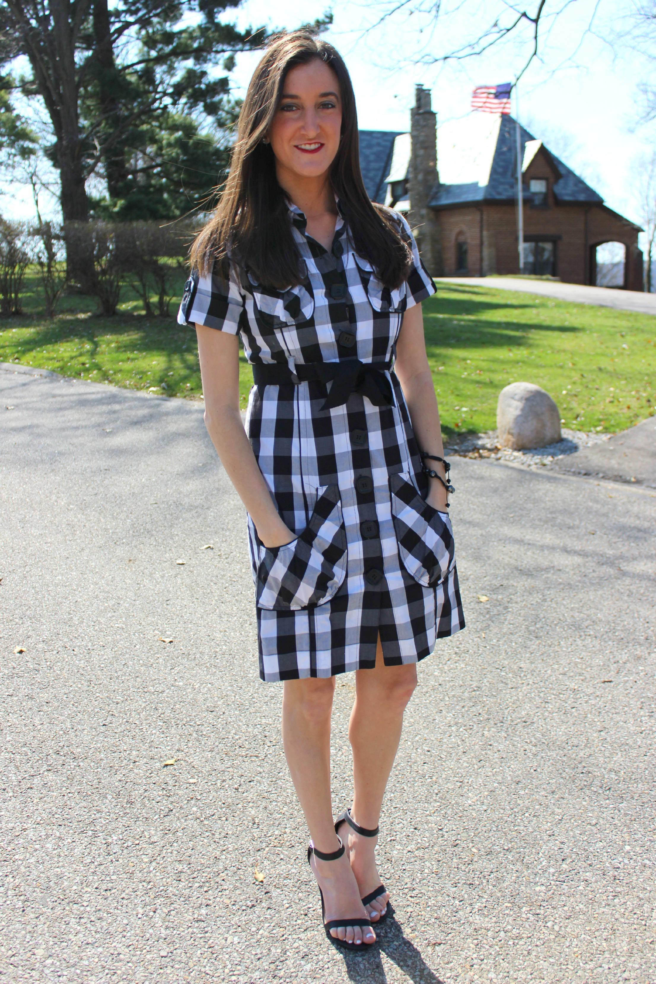 Kensie Checker Print Dress