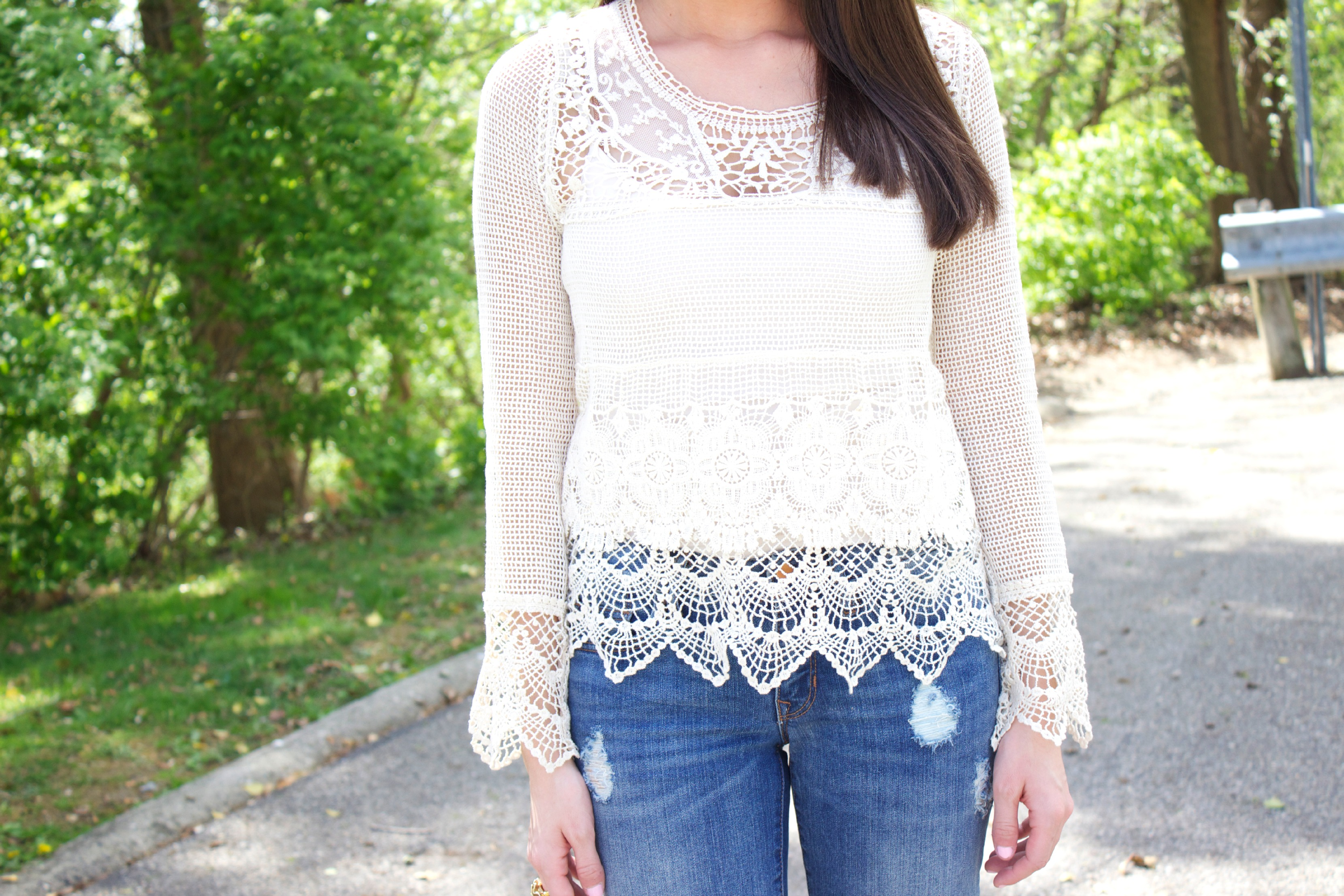 Urban Outfitters Crochet and Lace Top
