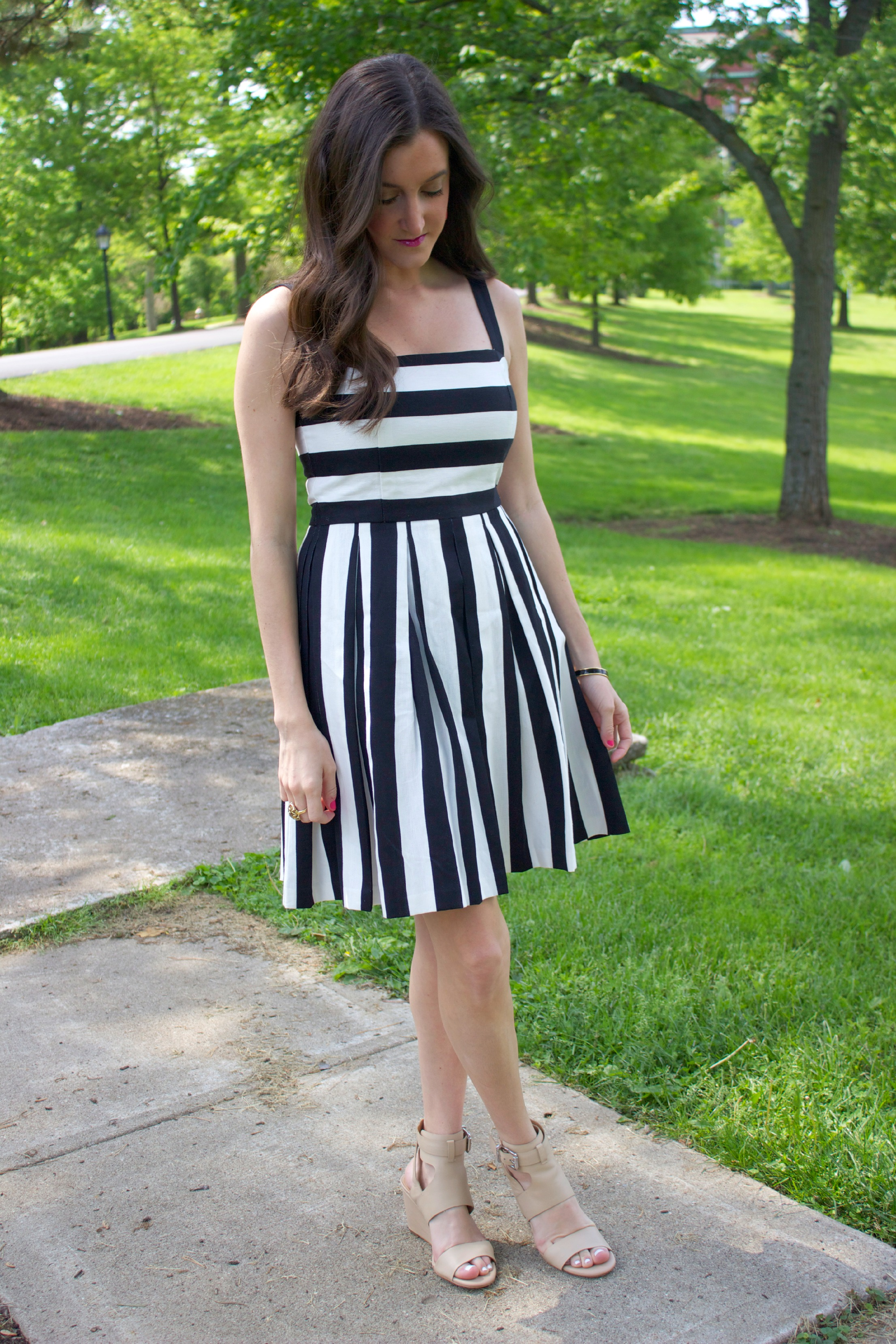 Ann Taylor Loft Striped Pleated Cotton Dress
