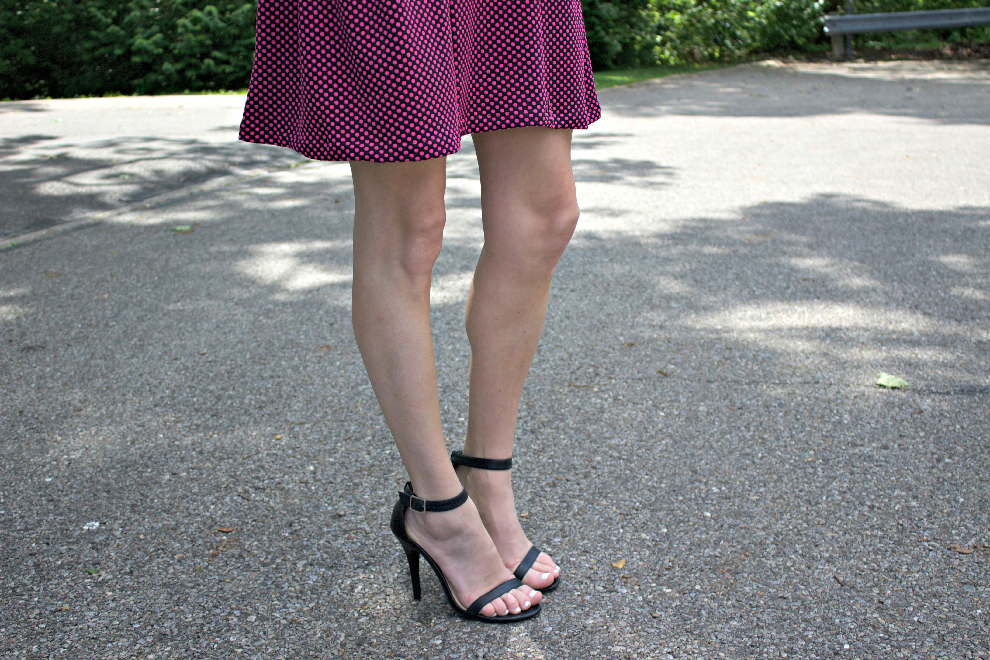 Anne Michelle Enzo Black Ankle Strap Heels