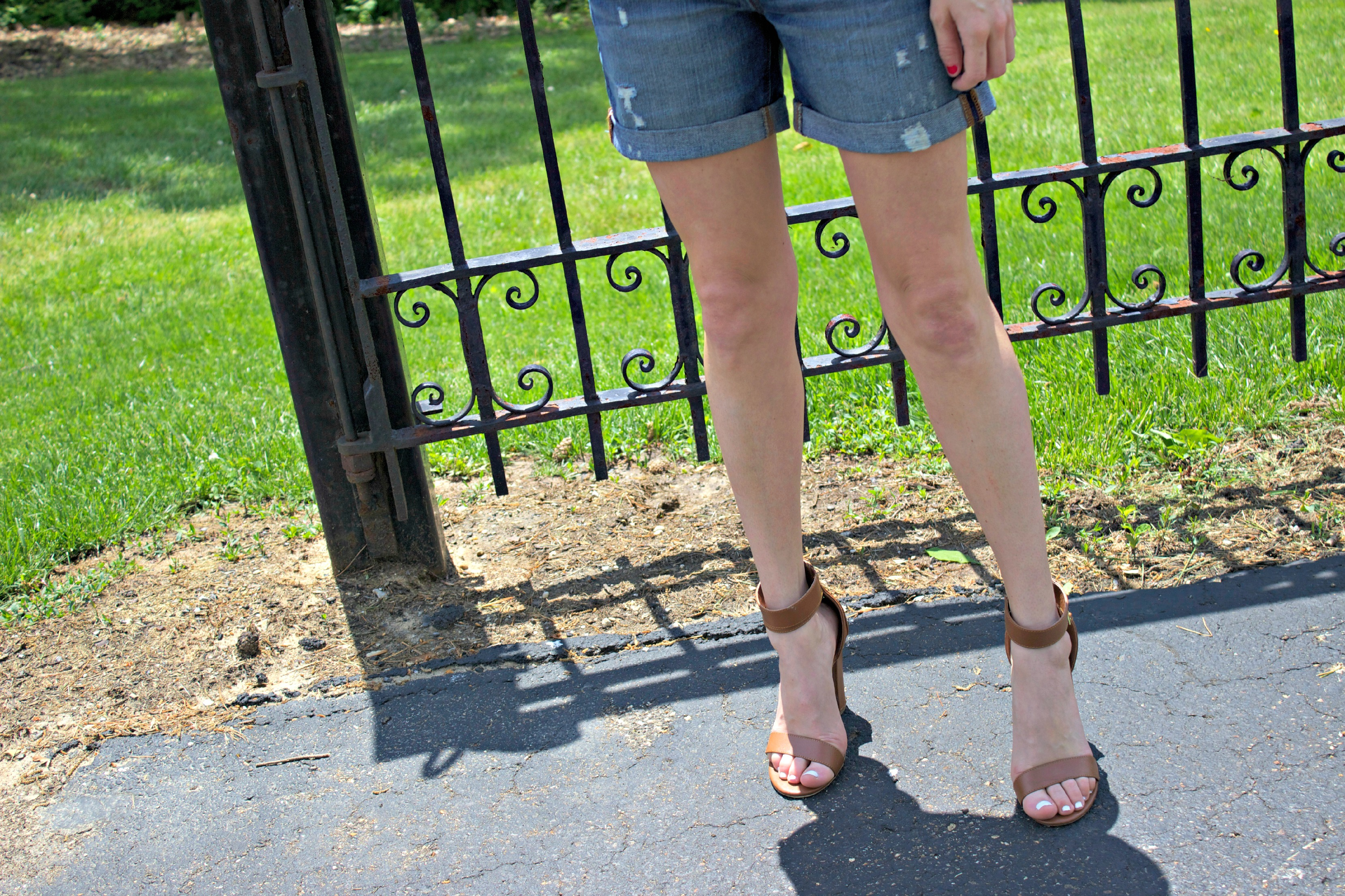 Brown Ankle Strap Heels with Gap Denim Shorts
