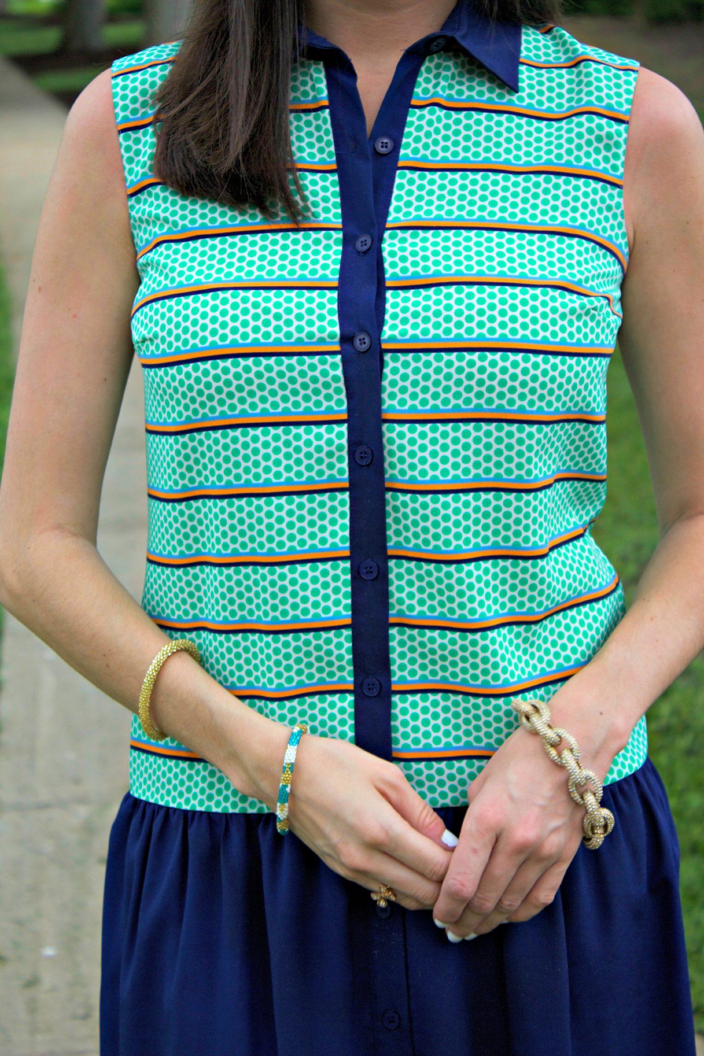 Daniel Cremieux Green Navy Printed Dress