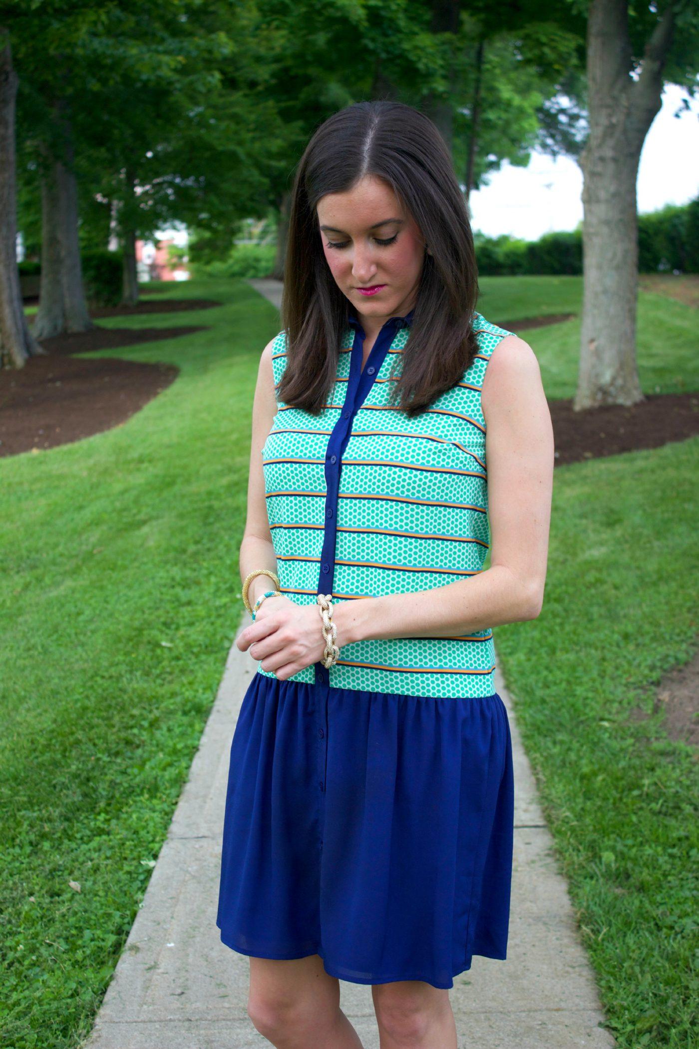 Dillard's Cremieux Drop Waist Dress with J.Crew pave bracelet