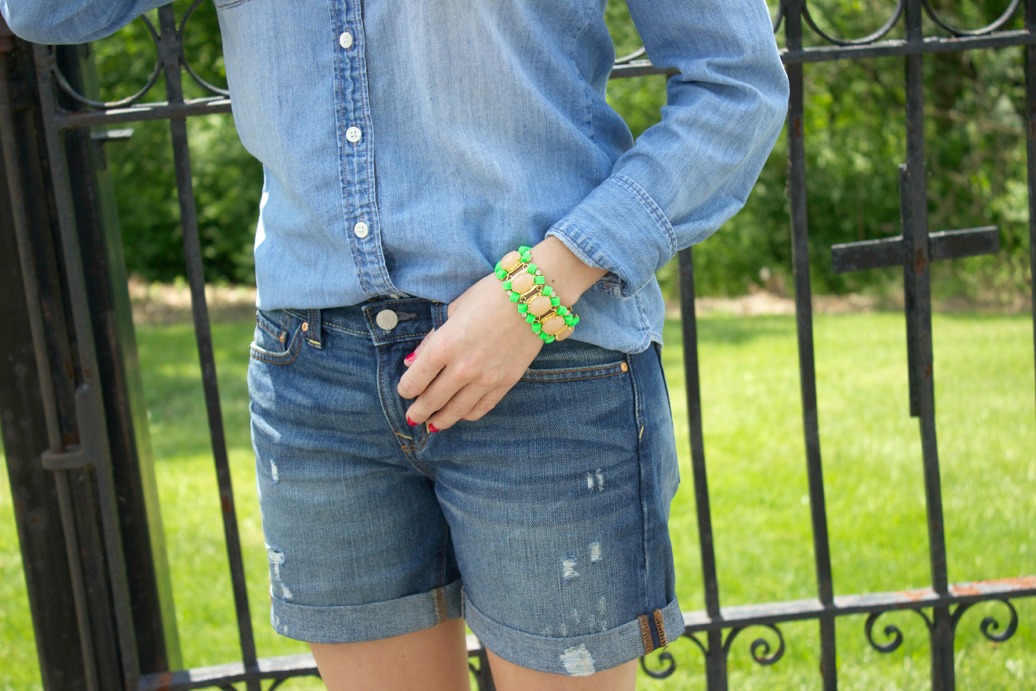 Gap Denim Shorts with J.Crew Chambray and J.Crew Neon Bracelet