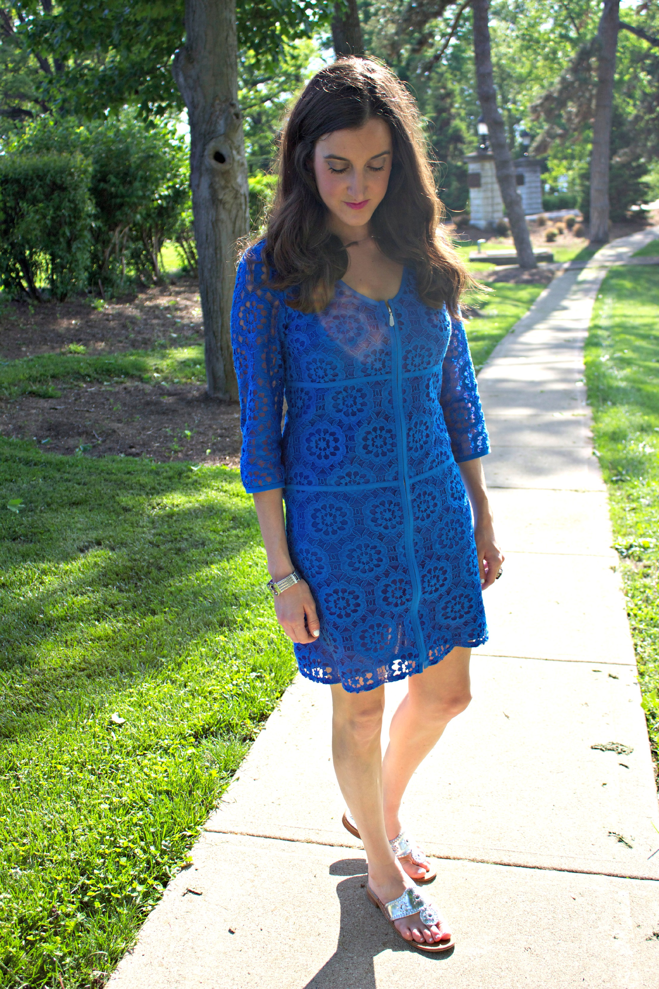 Laundry by Shelli Segal Lace Blue Dress