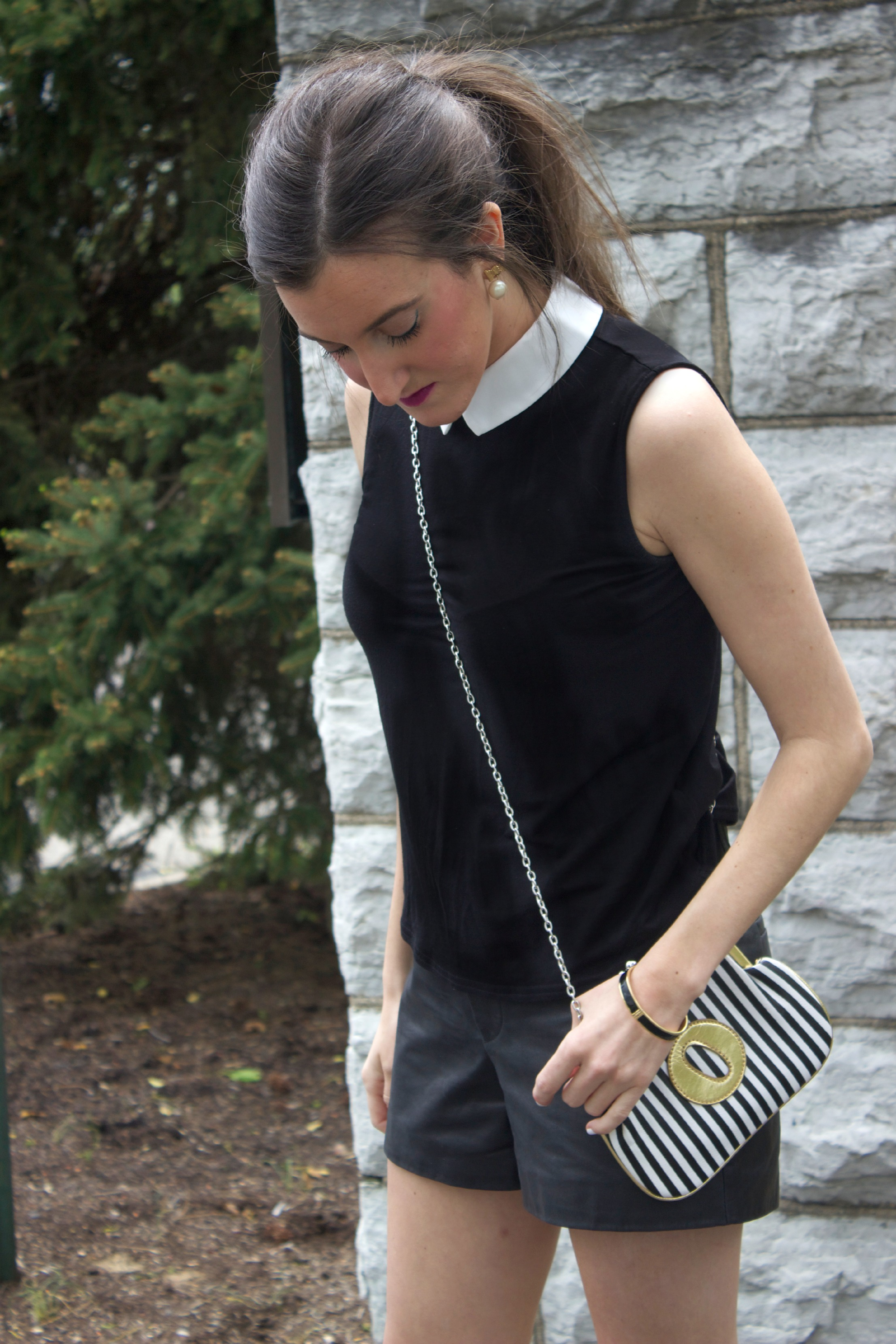 Melie Bianco Striped Clutch with Collared Black Top