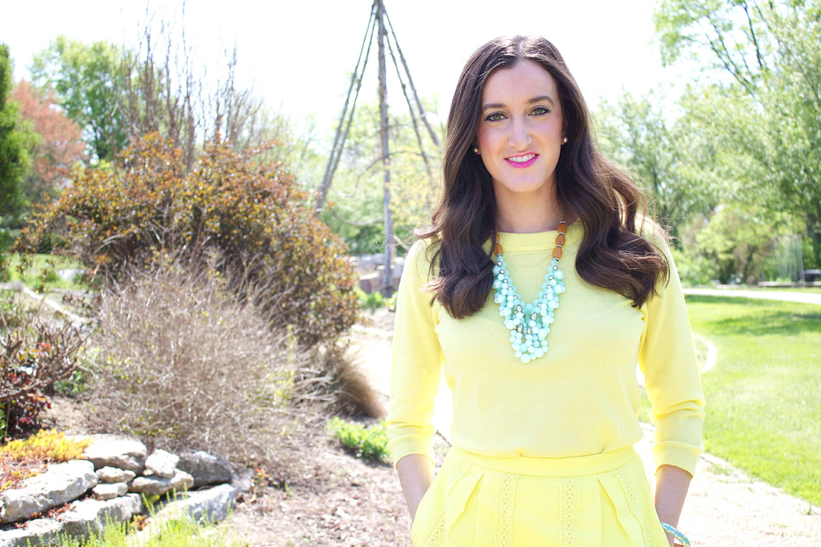 Yellow J.Crew Sweater with Anthropologie Necklace