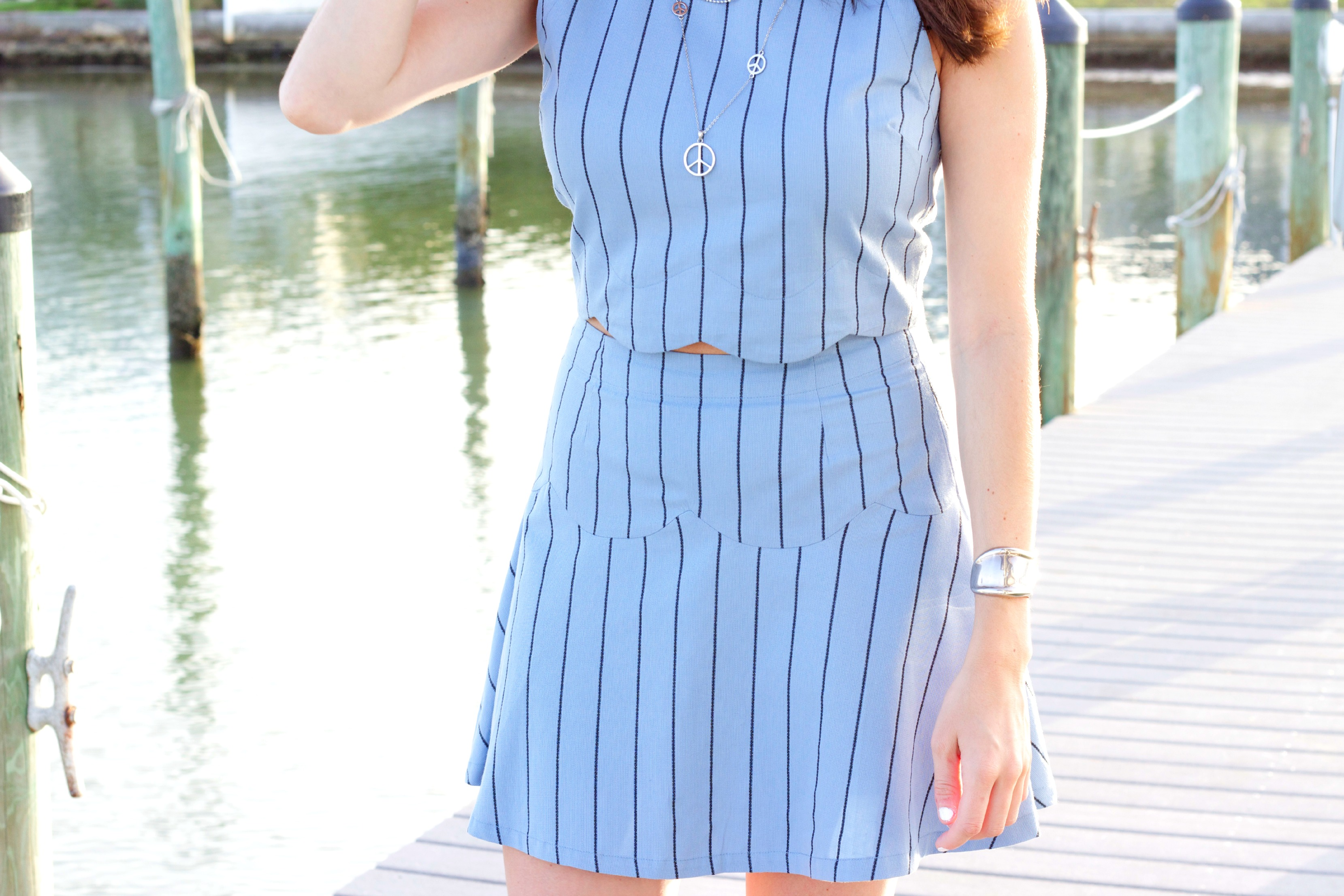 JOA Scalloped Blue Stripe Crop Top and Skirt