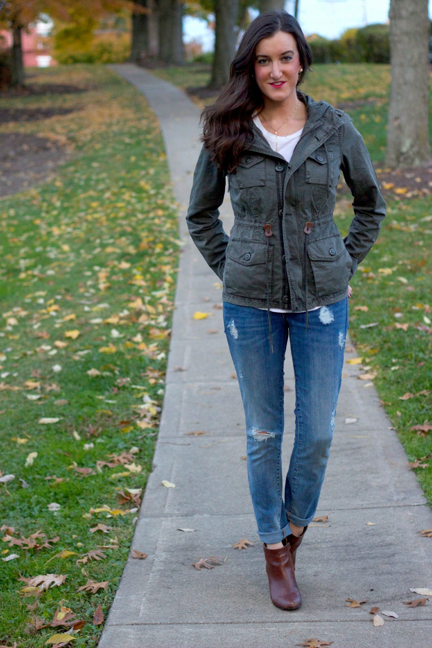 Casual Denim Outfit with Anorak Jacket
