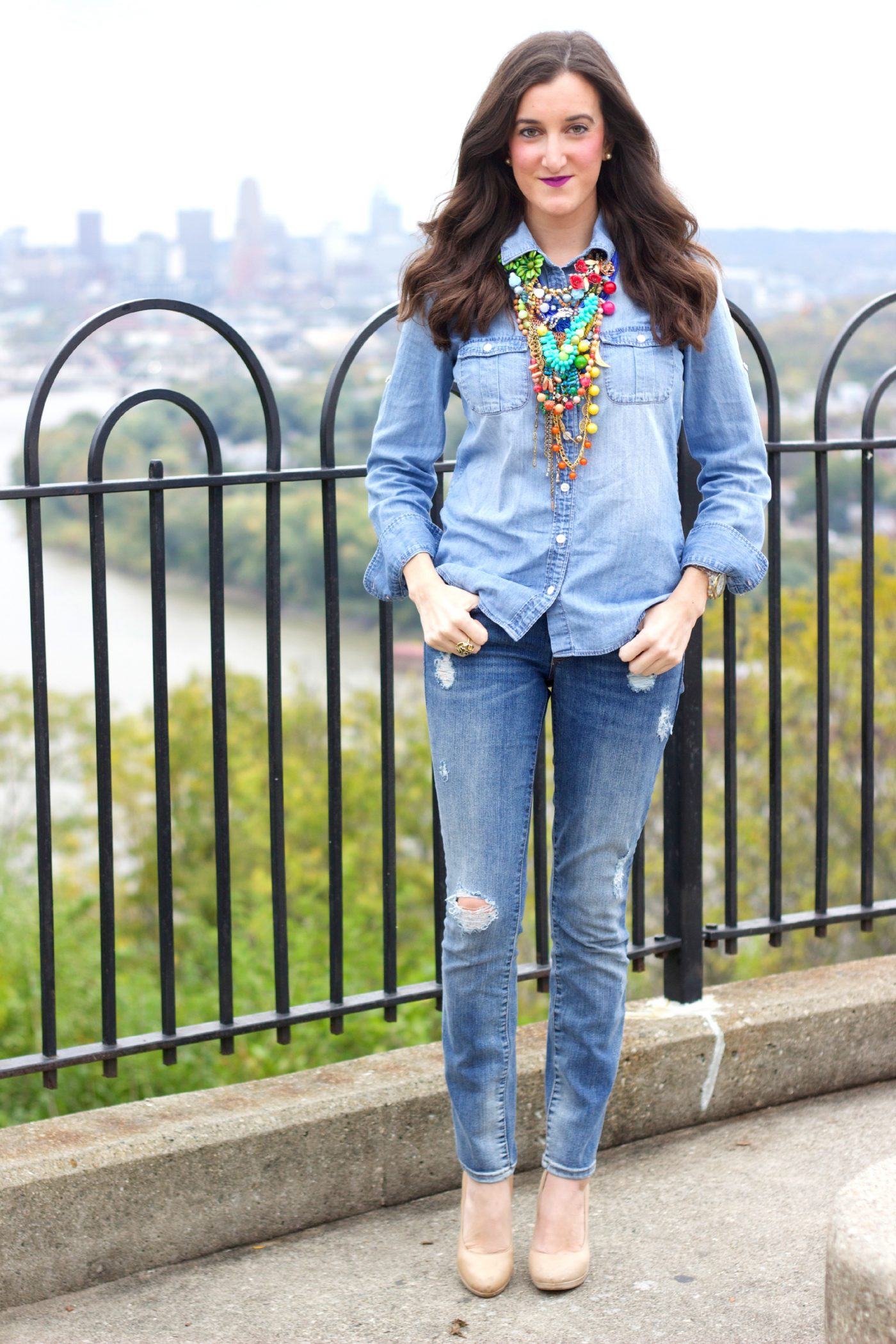 Colorful Statement Necklace Denim Outfit
