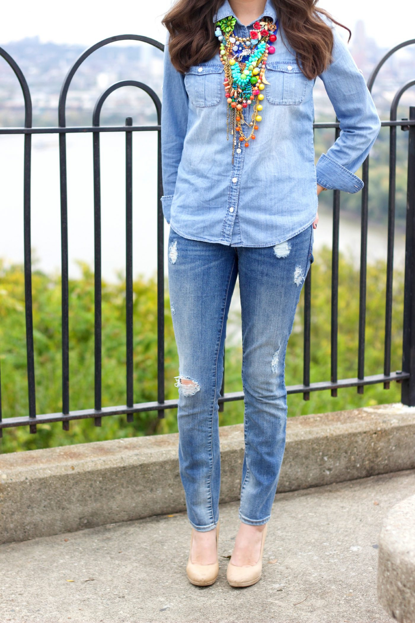 Distressed Jeans with J.Crew Chambray Shirt