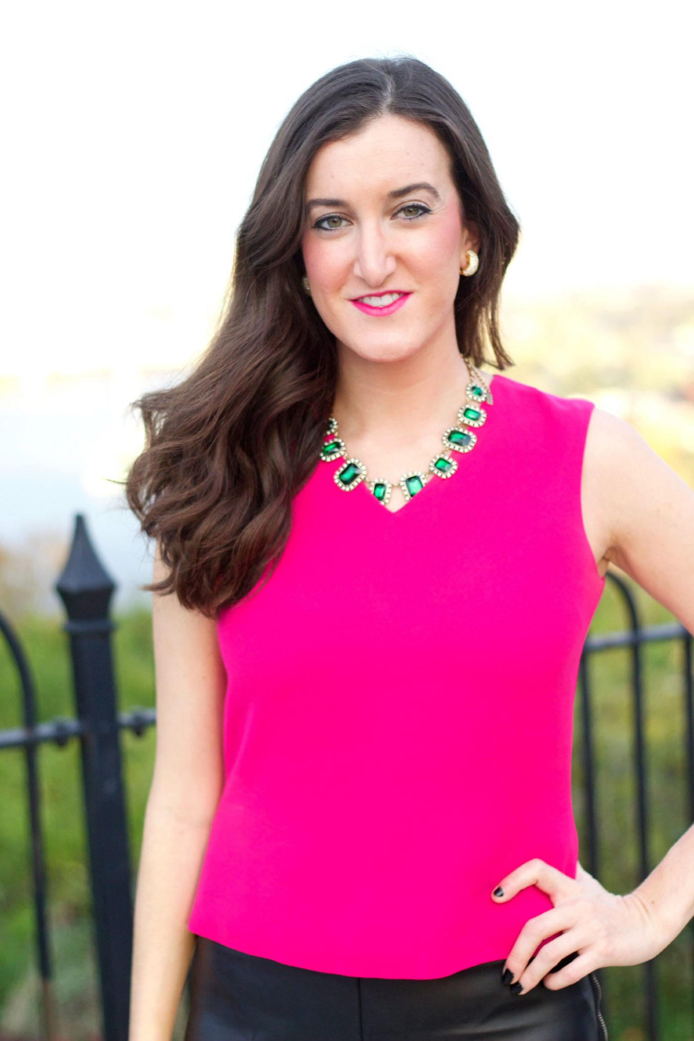 Hot Pink Top with BaubleBar Emerald Necklace