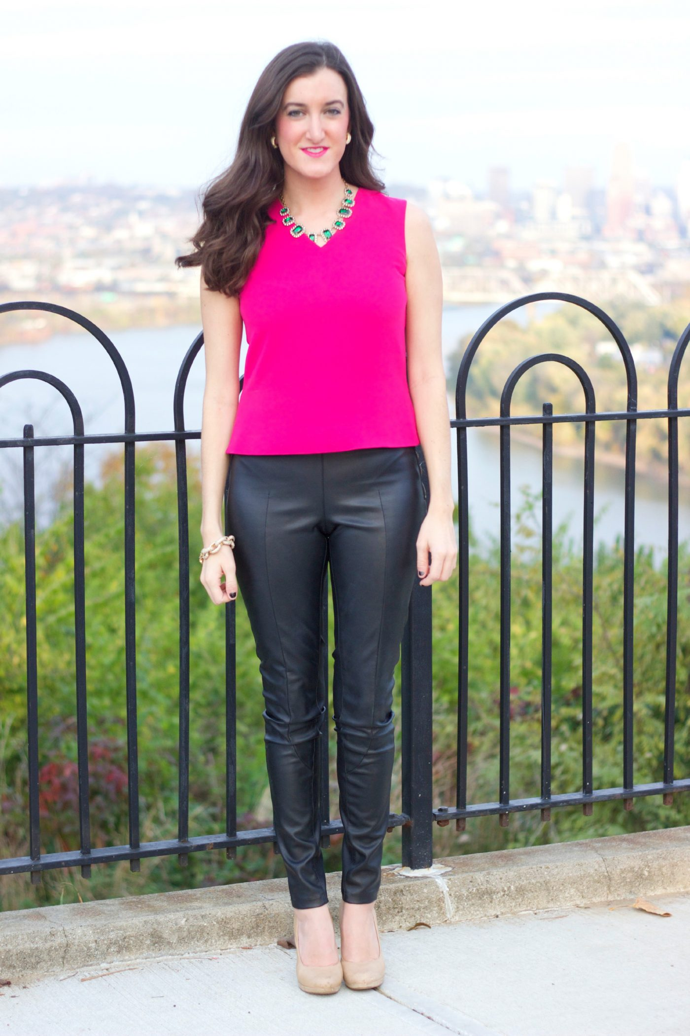 How To Style Leather Pants with Pink Top