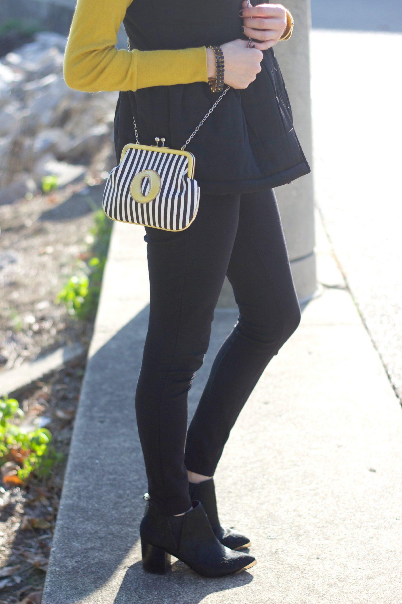 Melie Bianco Striped Clutch