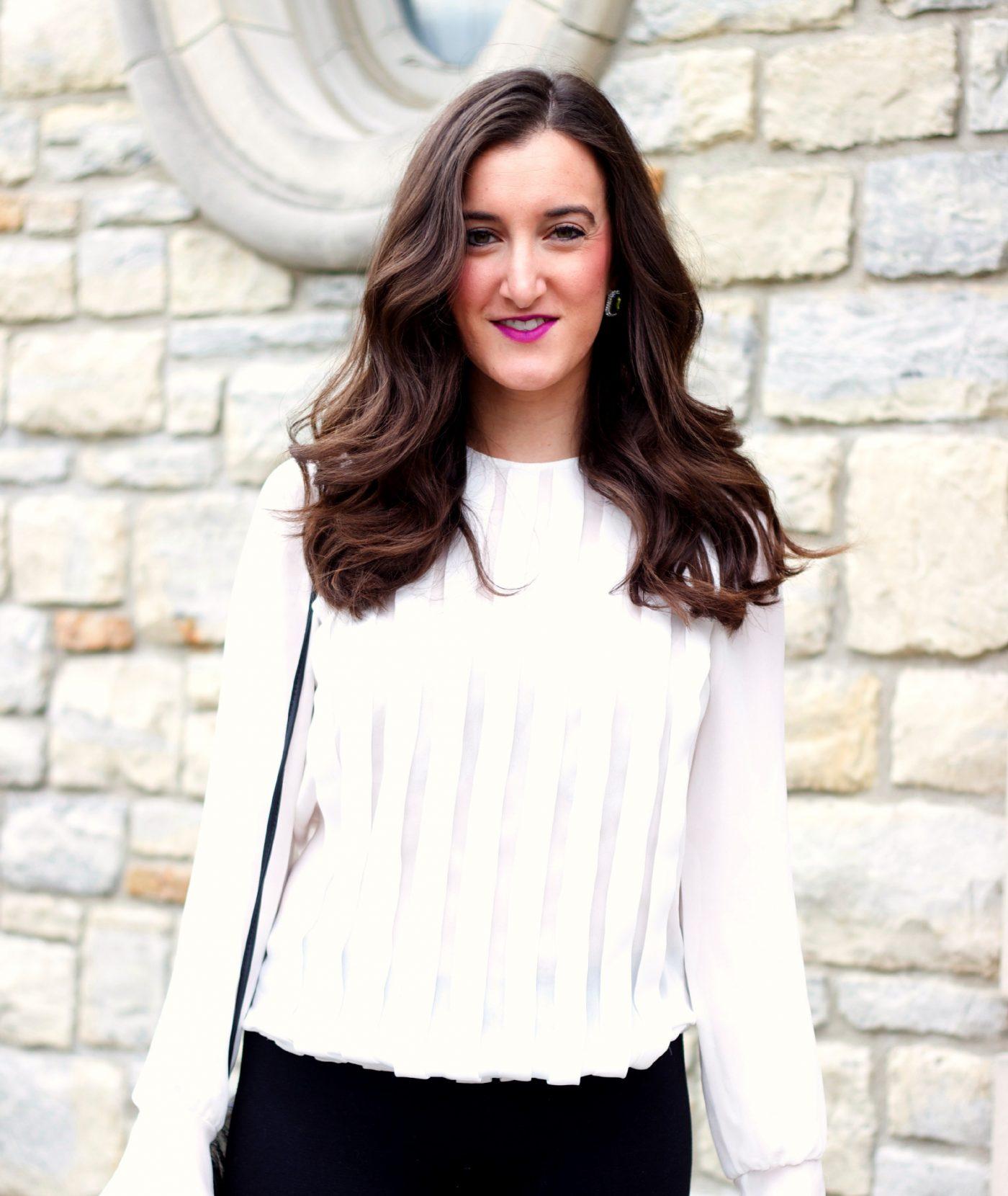 White Zara Pleated Blouse