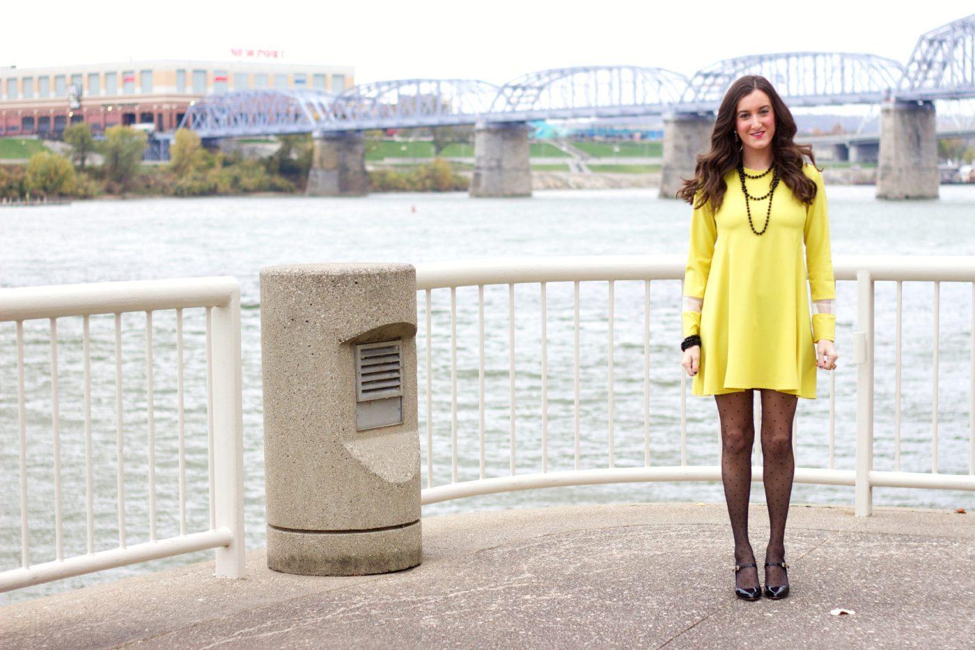 ASOS Yellow Dress with Polka Dot Tights