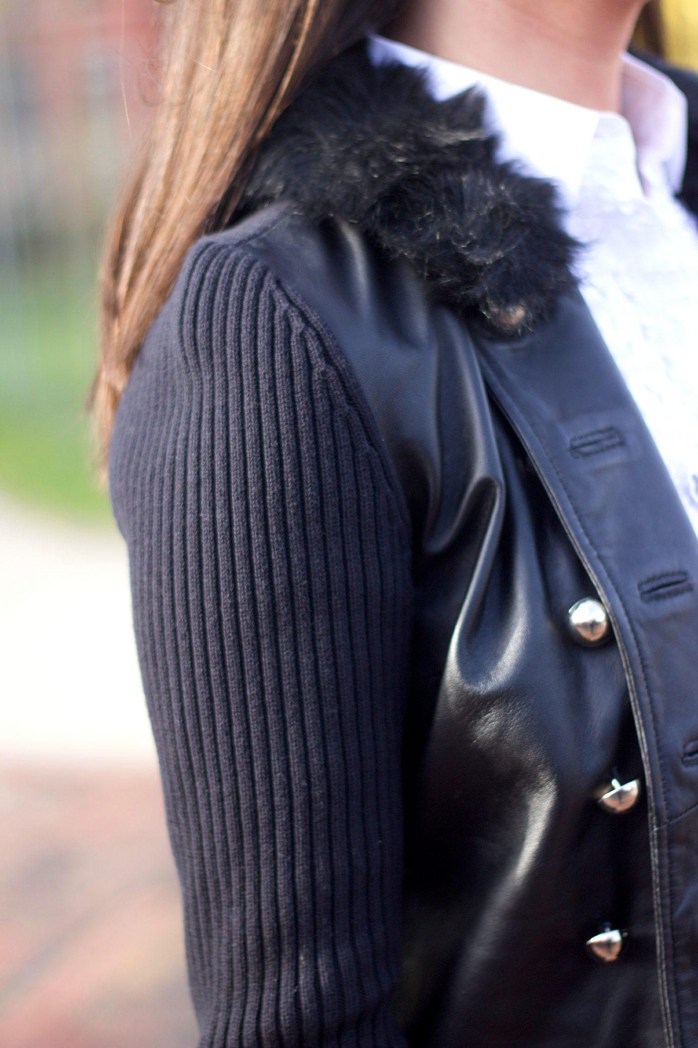 Black Faux Fur Collar Sweater