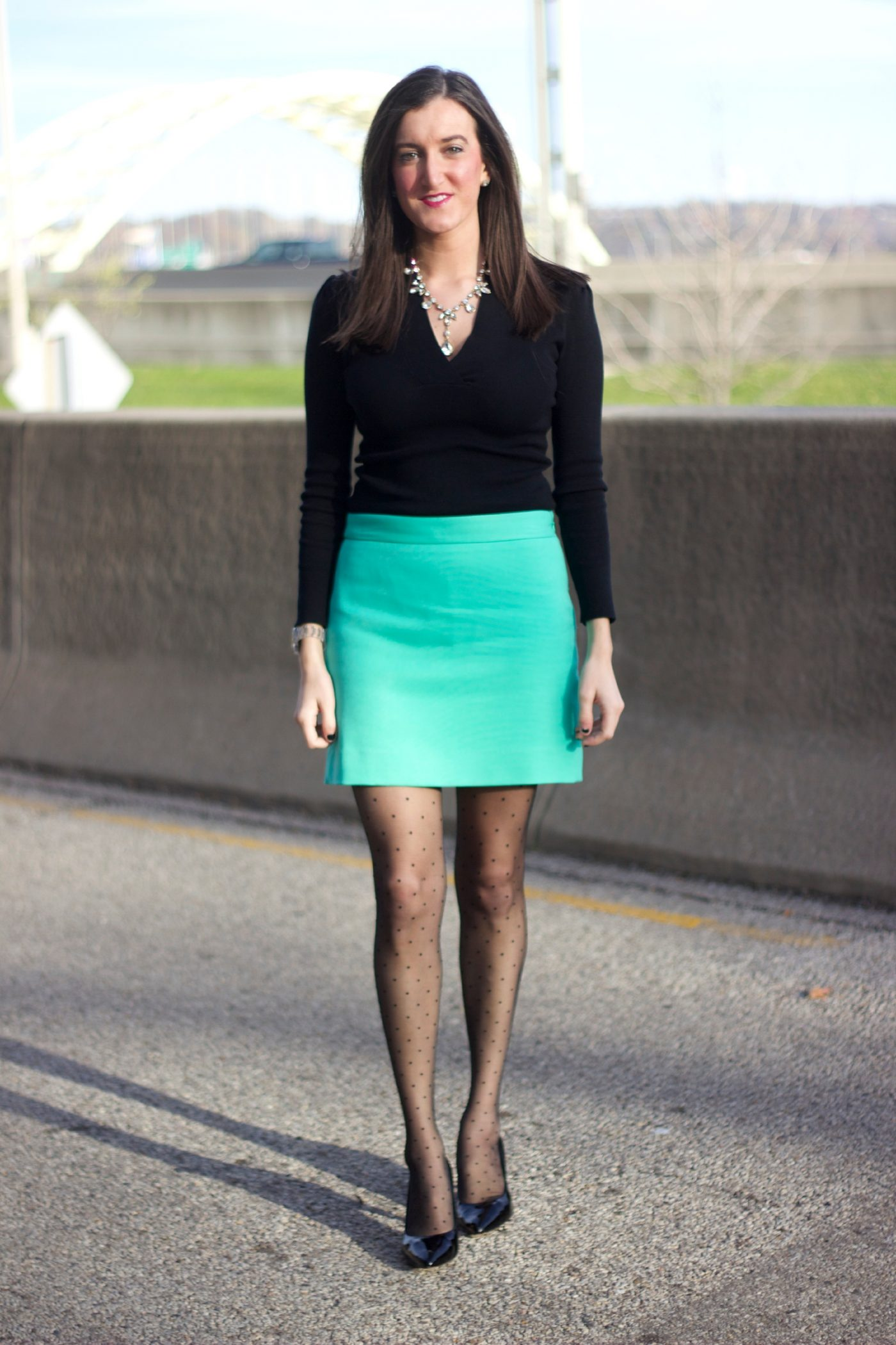 Black Sweater with Tiffany Blue Skirt