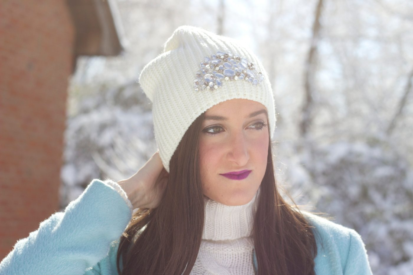 Cream Embellished Knit Winter Hat