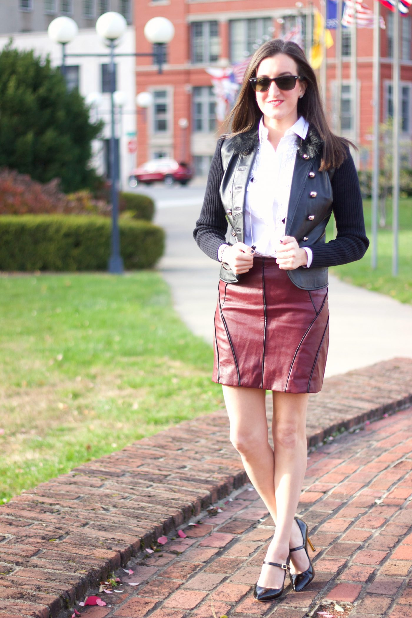 Leather Mini Skirt with Faux Fur Jacket