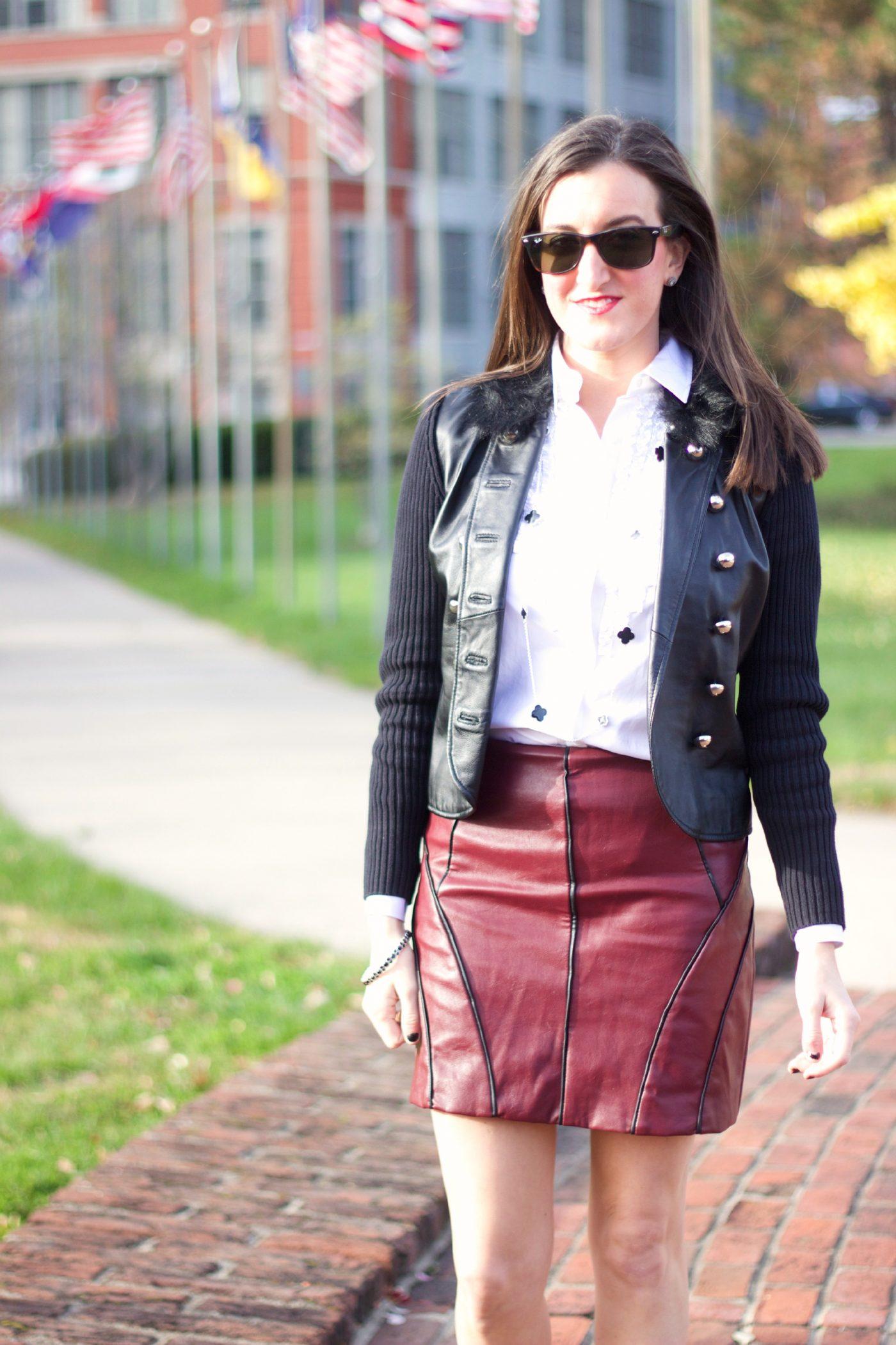Maroon Leather Mini Skirt