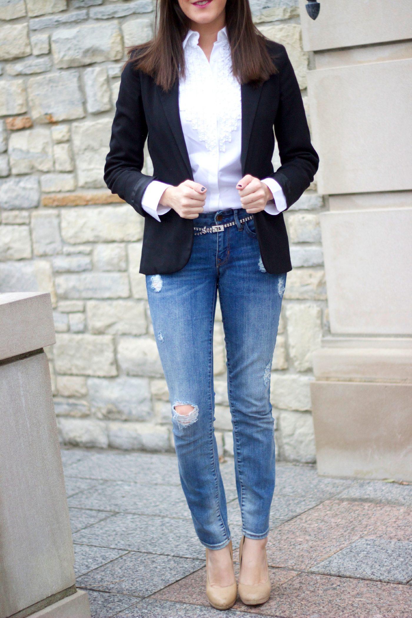 Ripped Jeans with Dressy Blazer