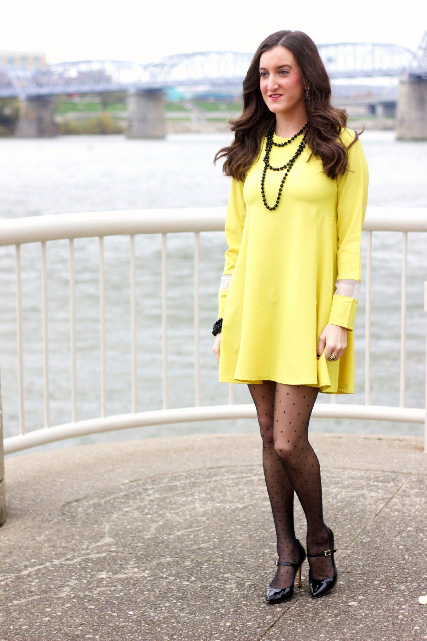 Yellow Long Sleeve Dress with Black Polka Dot Tights